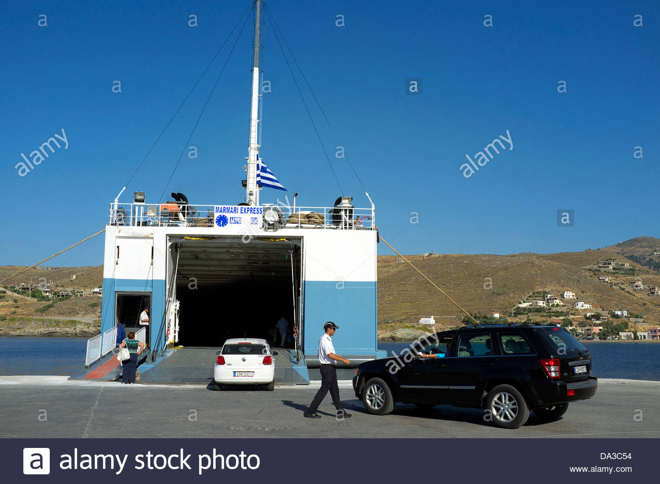 A ferry in the port of Korissia on Kea island, Greece, awaiting departure to Lavrio on the Greek mainland. - Stock Image