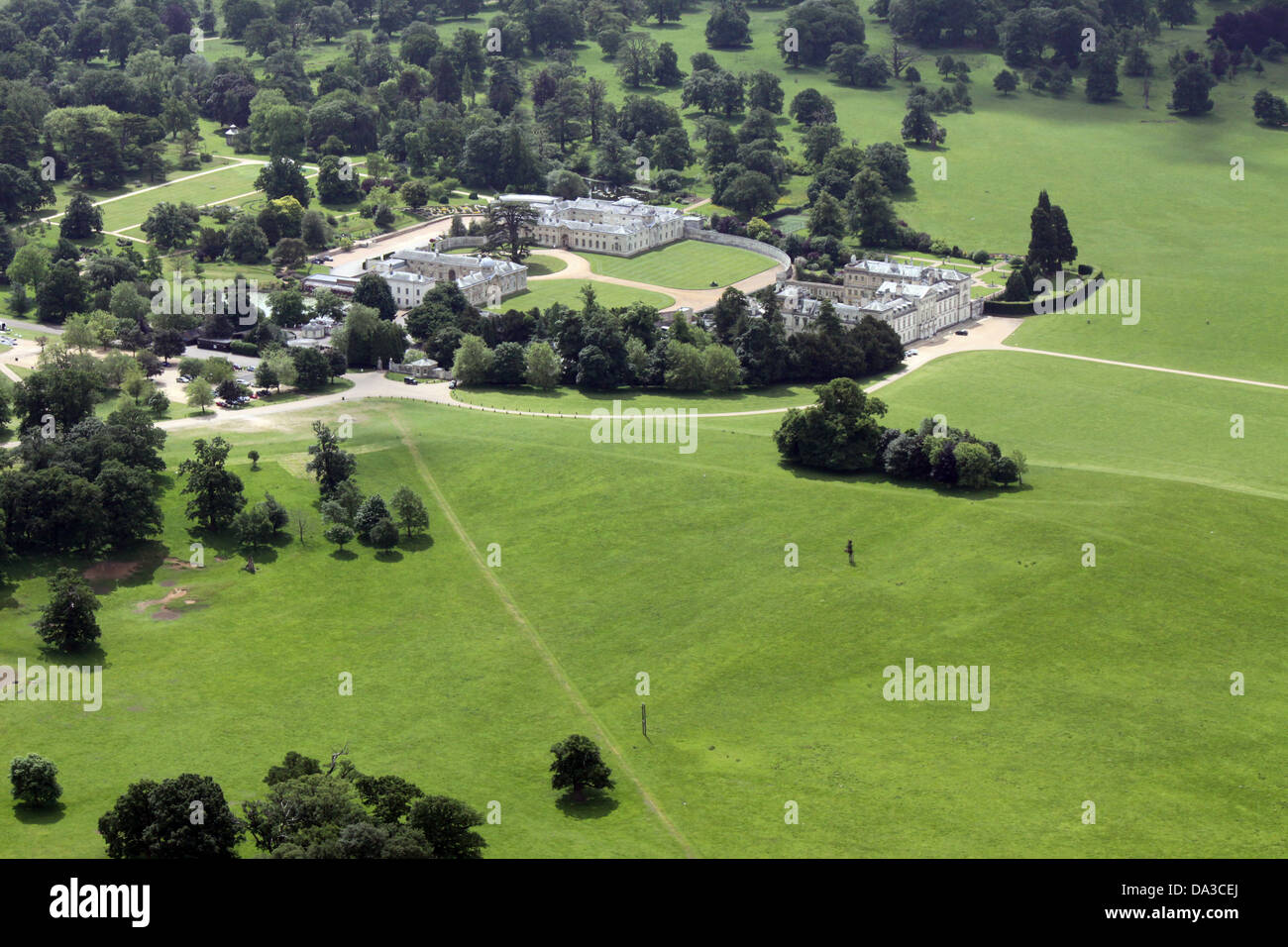 aerial view of Woburn Abbey, home of the Duke of Bedford - Stock Image