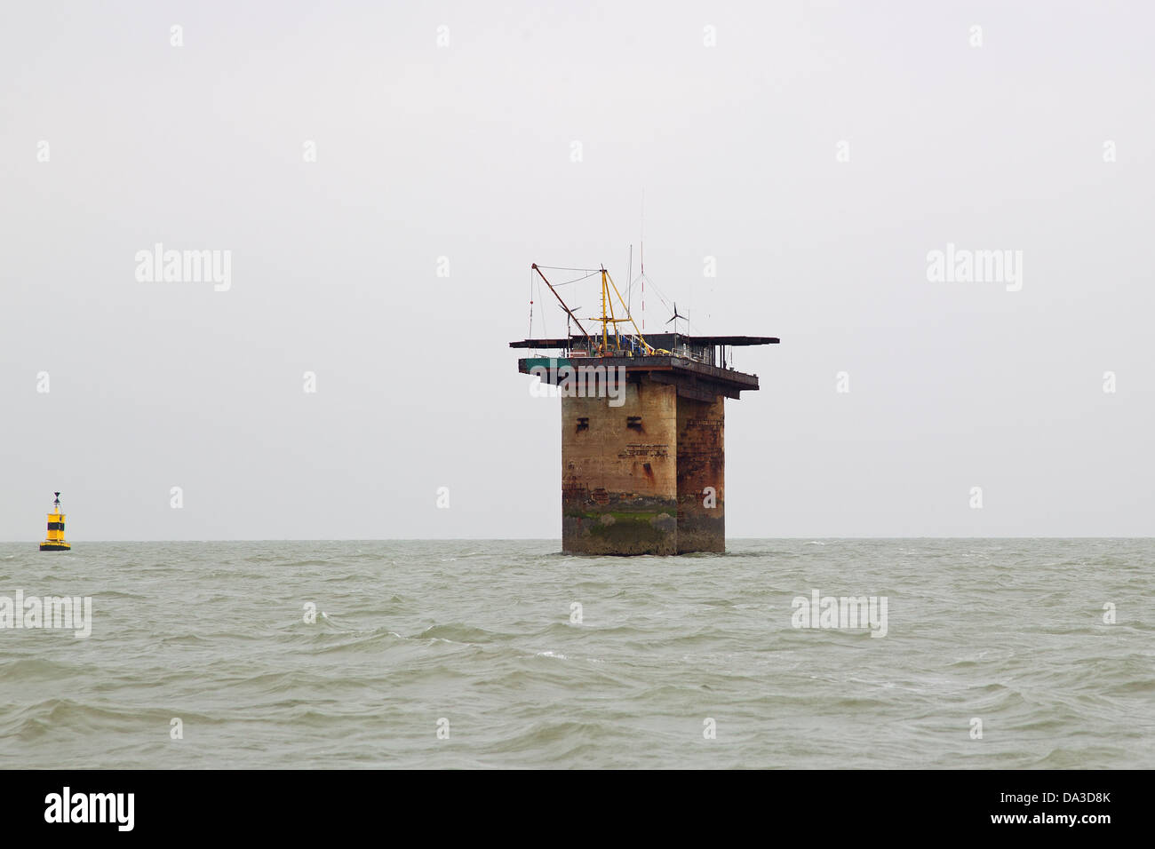 Roughs Tower World War 2 anti  aircraft gun fort – North Sea,UK – now known as Sealand - Stock Image