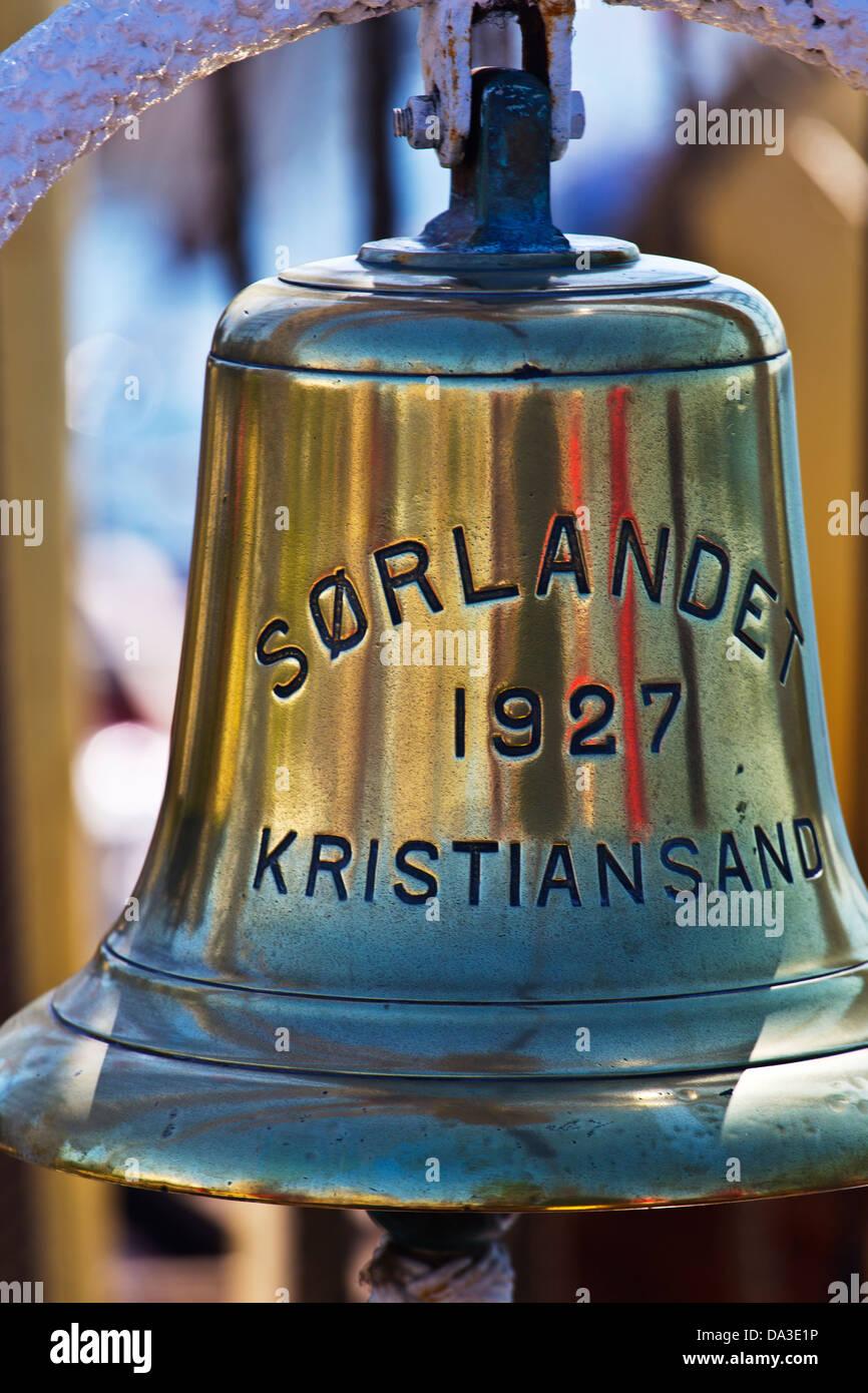Ships bell Norwegian tall ship Sorlander - Stock Image