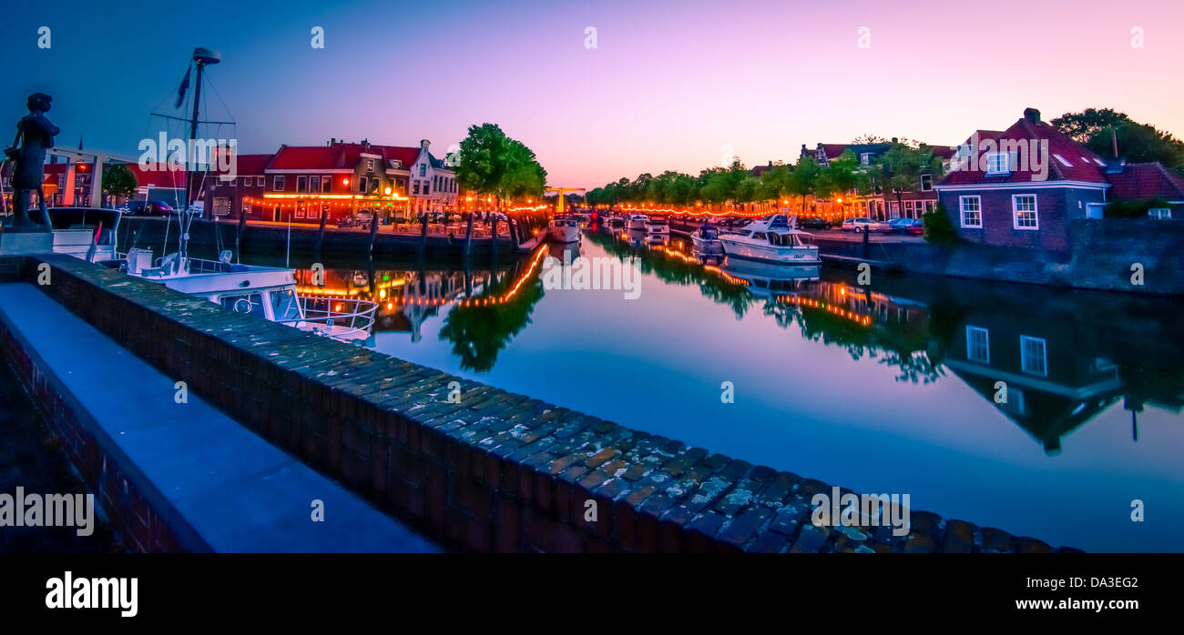 A Night Time Shot Of Small Town Brielle In Holland Overlooking The