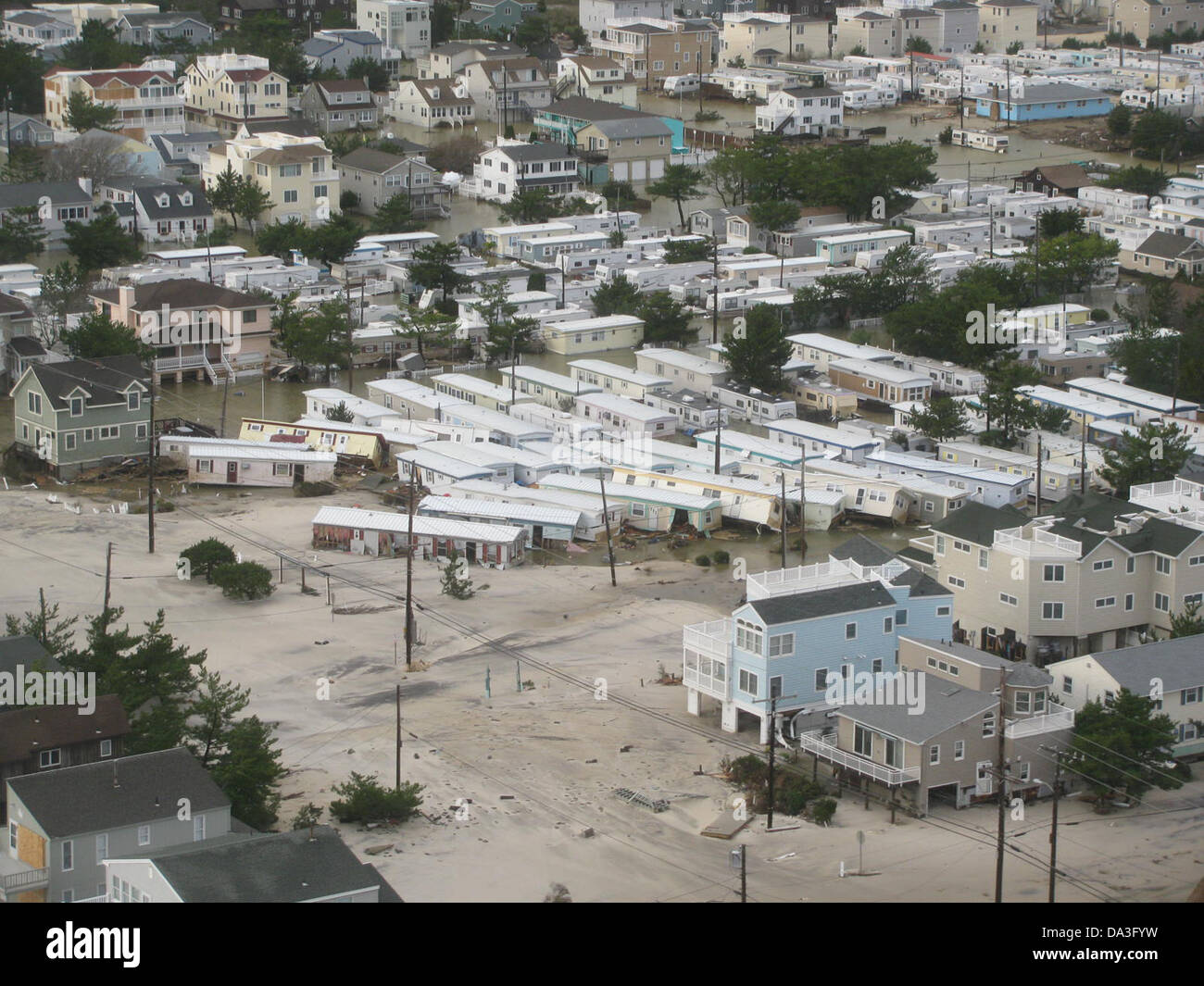 USA New Jersey Brigantine Hurricane Sandy Aftermath Homes displaced October 30, 2012 - Stock Image