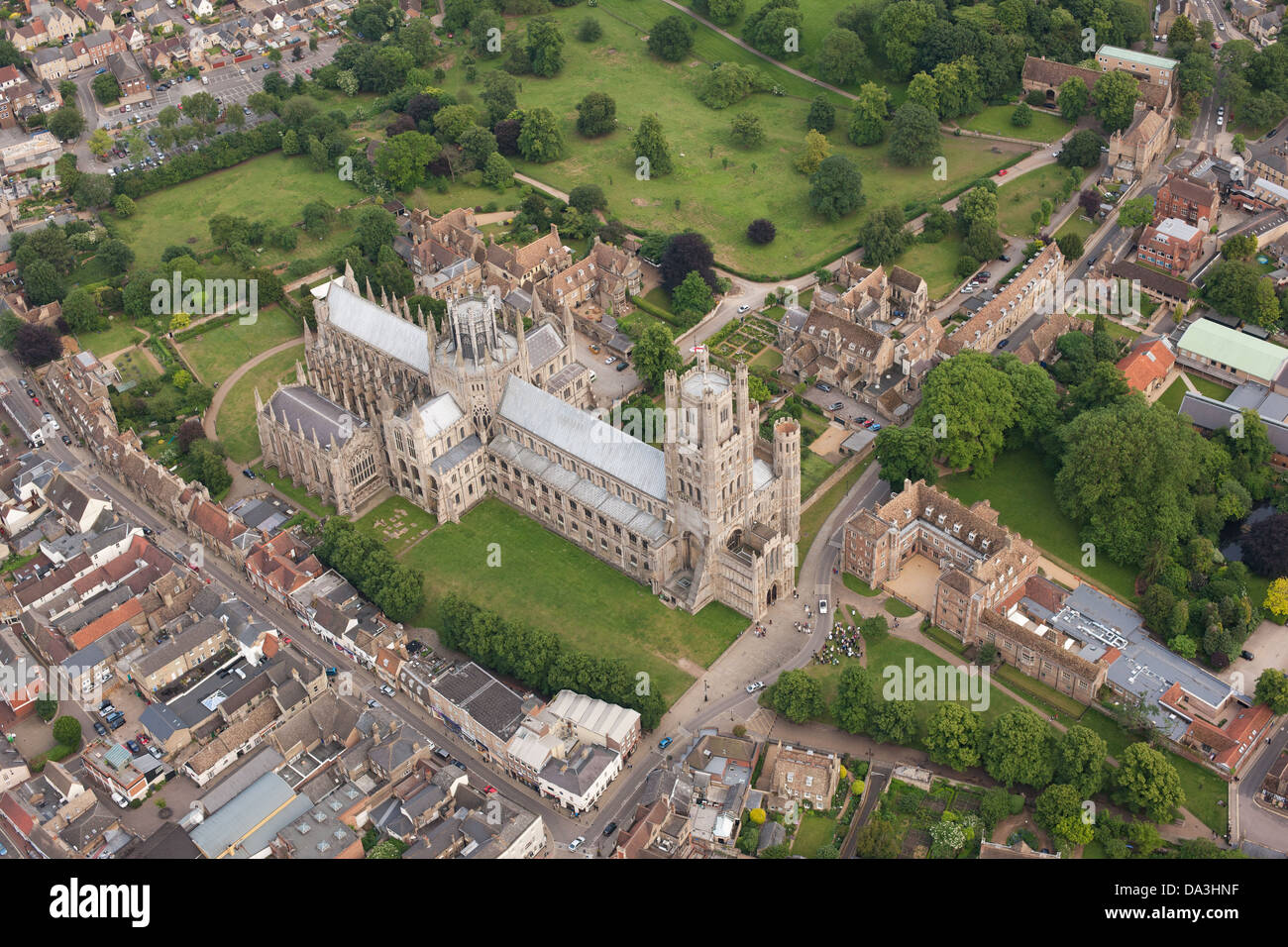 ELY CATHEDRAL (aerial view). Cambridgeshire, England, Great Britain, United Kingdom. - Stock Image