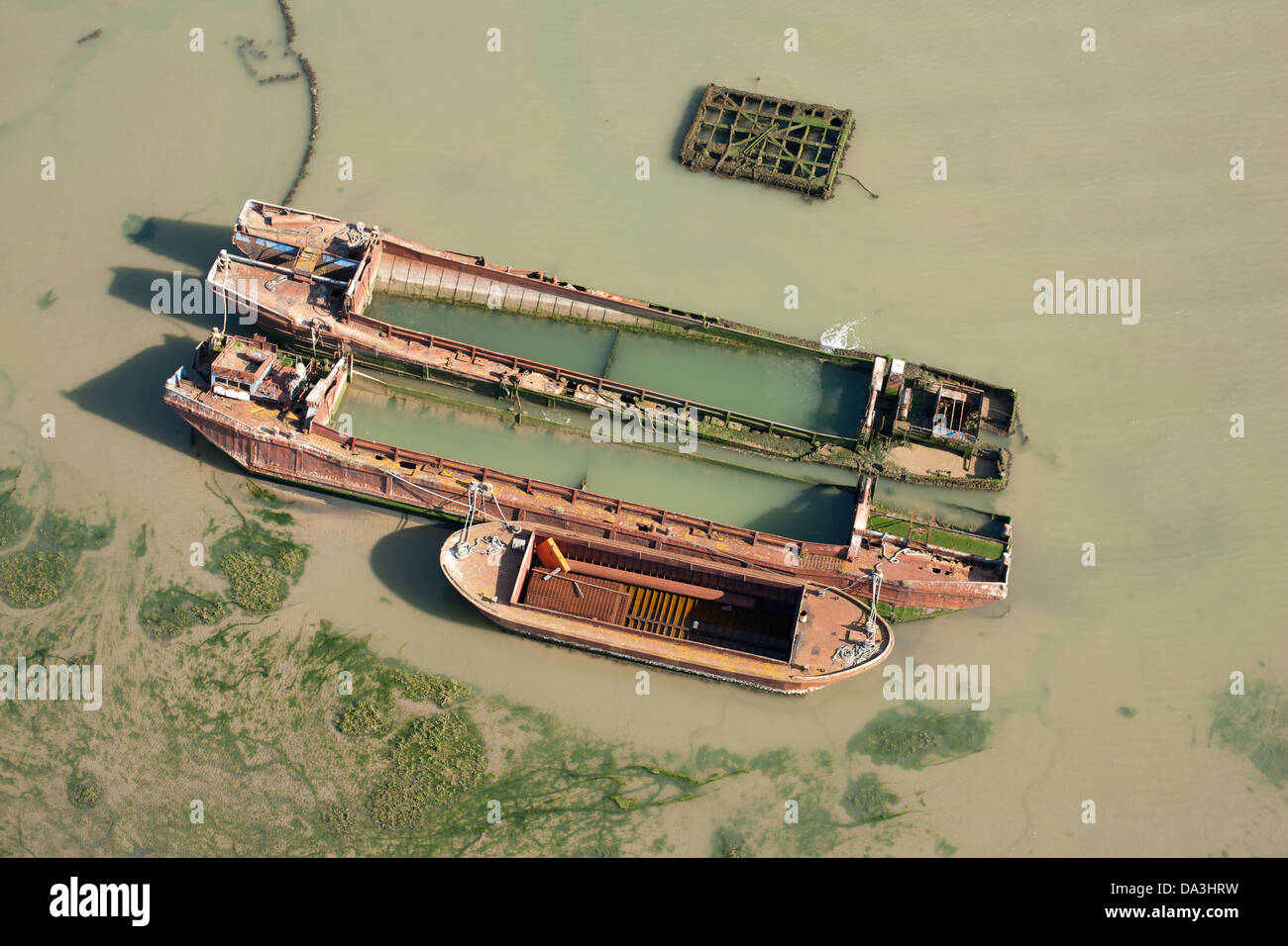 RUST IN PEACE (aerial view). Rusted boats on the Thames Estuary, Isle of Sheppey, Kent, England, Great Britain, Stock Photo