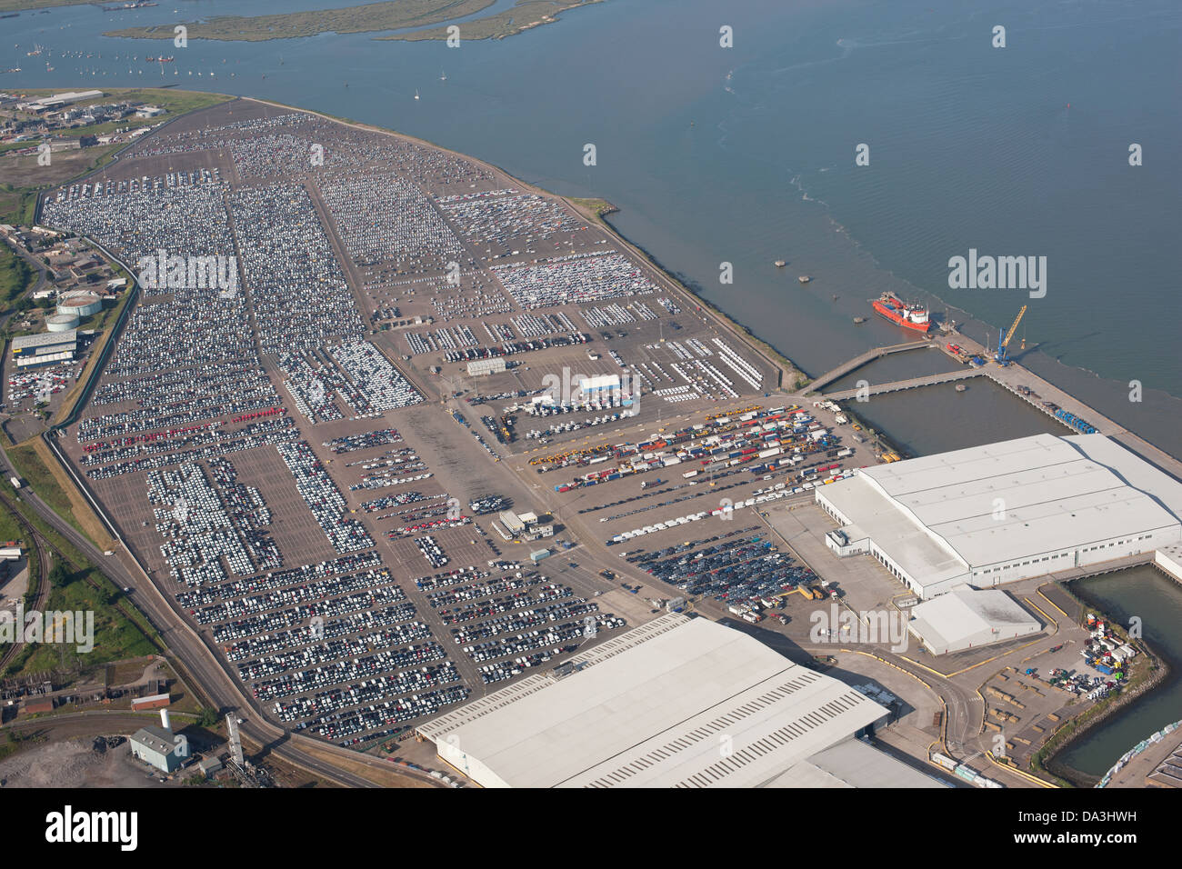 VAST CAR DEPOSITORY (aerial view). Thames Estuary, Sheerness, Isle of Sheppey, Kent, England, Great Britain, United - Stock Image
