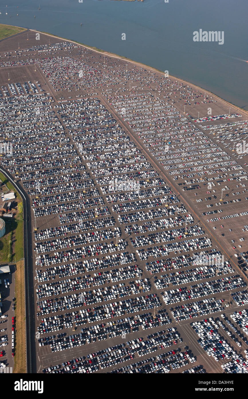 VAST CAR DEPOSITARY (aerial view). Thames Estuary, Sheerness, Isle of Sheppey, Kent, England, Great Britain, United - Stock Image