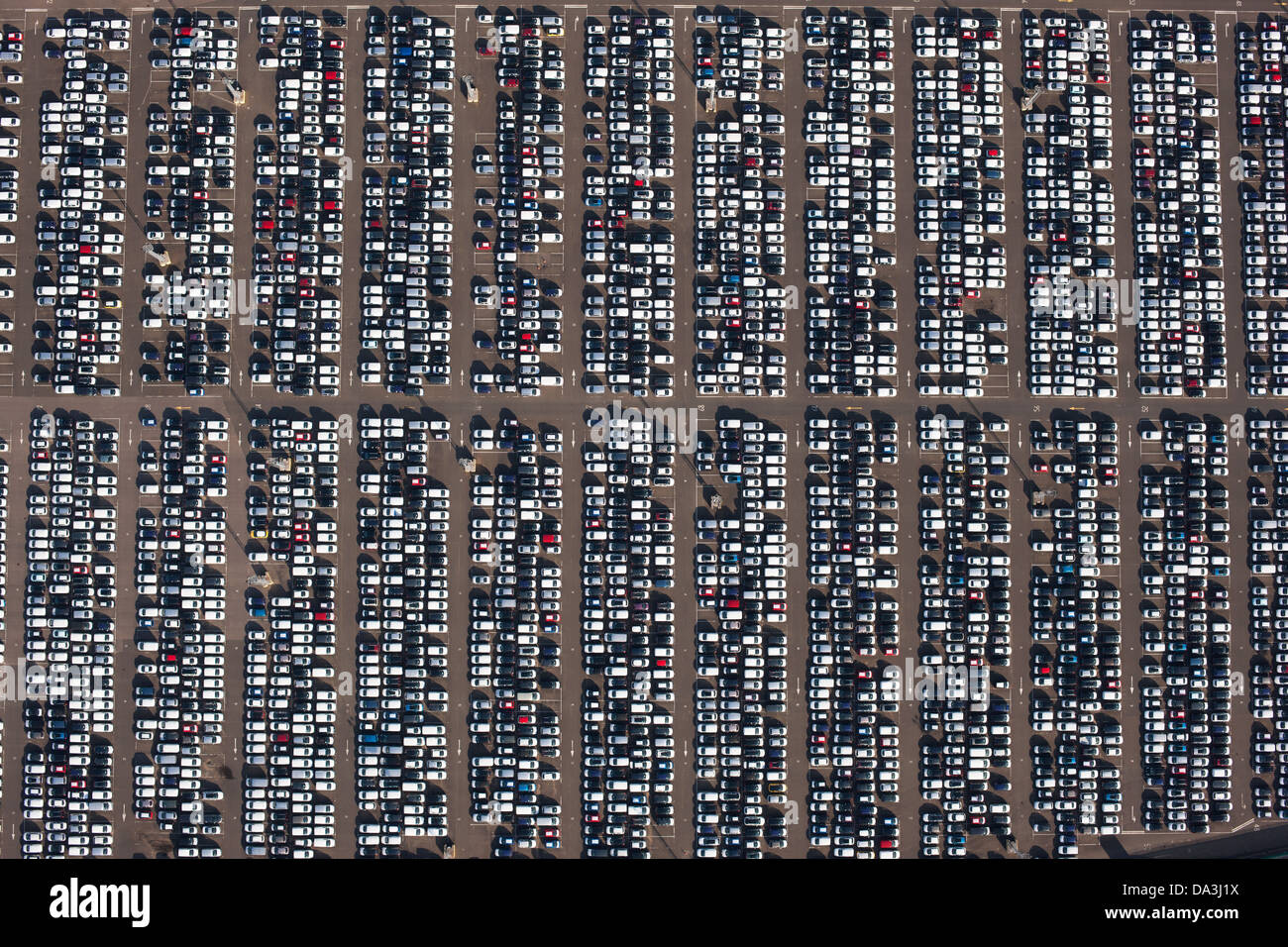 CAR DEPOSITORY (vertical aerial view). Sheerness, Isle of Sheppey, Kent, England, Great Britain, United Kingdom. - Stock Image