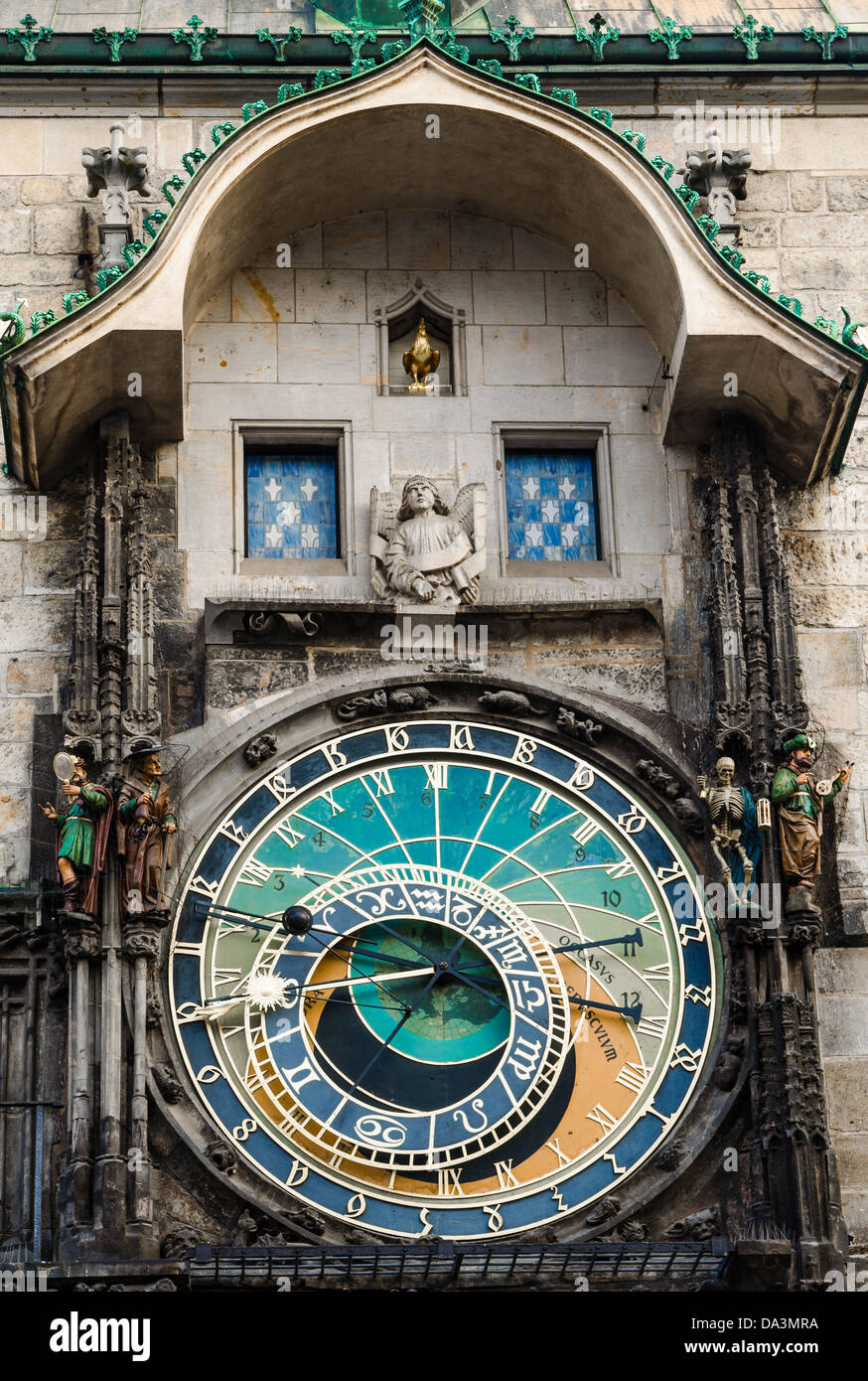 Astronomical clock on Old Town Hall in Prague, Czech - Stock Image