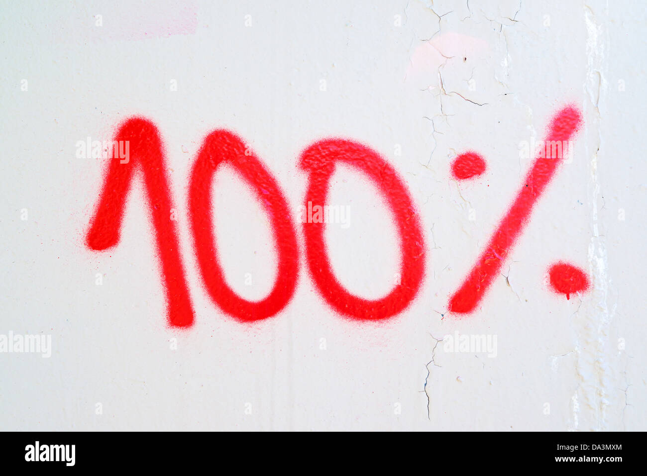 Hundred percent, red graffiti on the white wall. Stock Photo