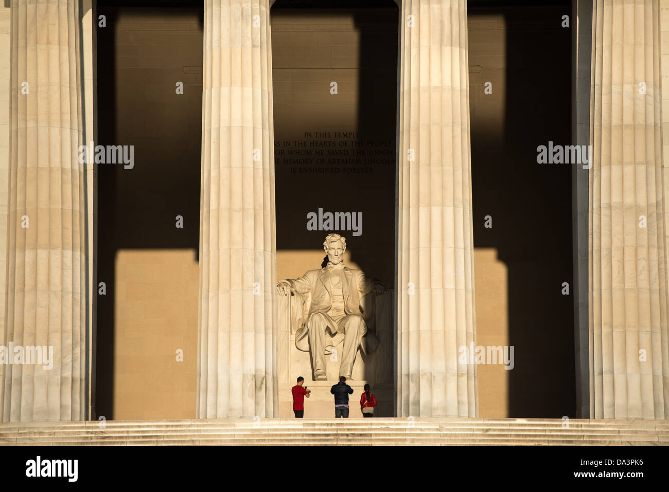 WASHINGTON DC, USA - The early morning sun shines on the statue of Abraham Lincoln in the Lincoln Memorial in Washington Stock Photo