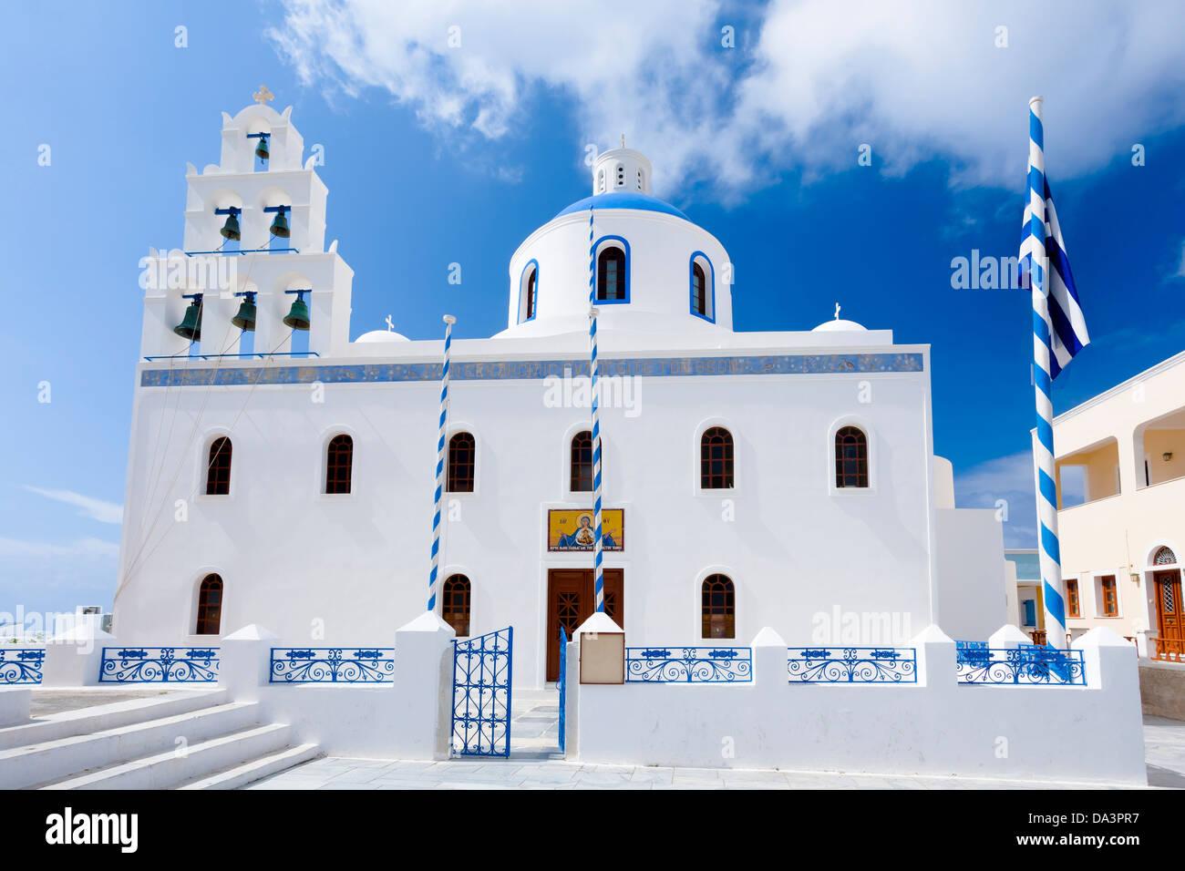 Greek orthodox church in the town of Oia Santorini Greece Europe - Stock Image