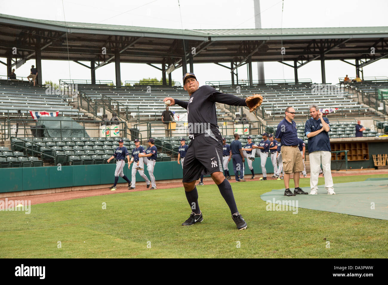 New York Yankees Alex Rodriguez during fielding practice before appearing in the first game since hip surgery with - Stock Image