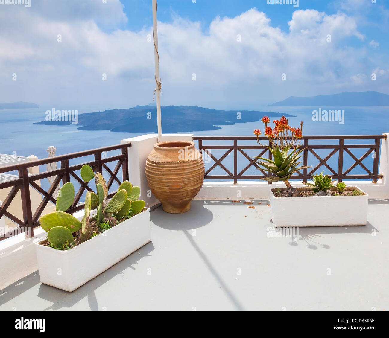 Plants on a rooftop at Fira Santorini Greece Stock Photo