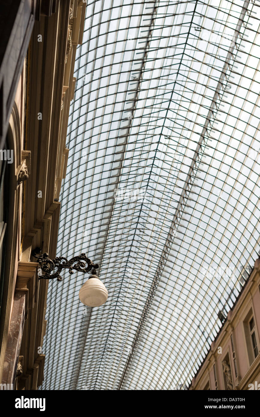 BRUSSELS, Belgium - The distinctive glass domed roof of the Galeries St-Hubert in the Lower Town of Brussels, Belgium. Stock Photo