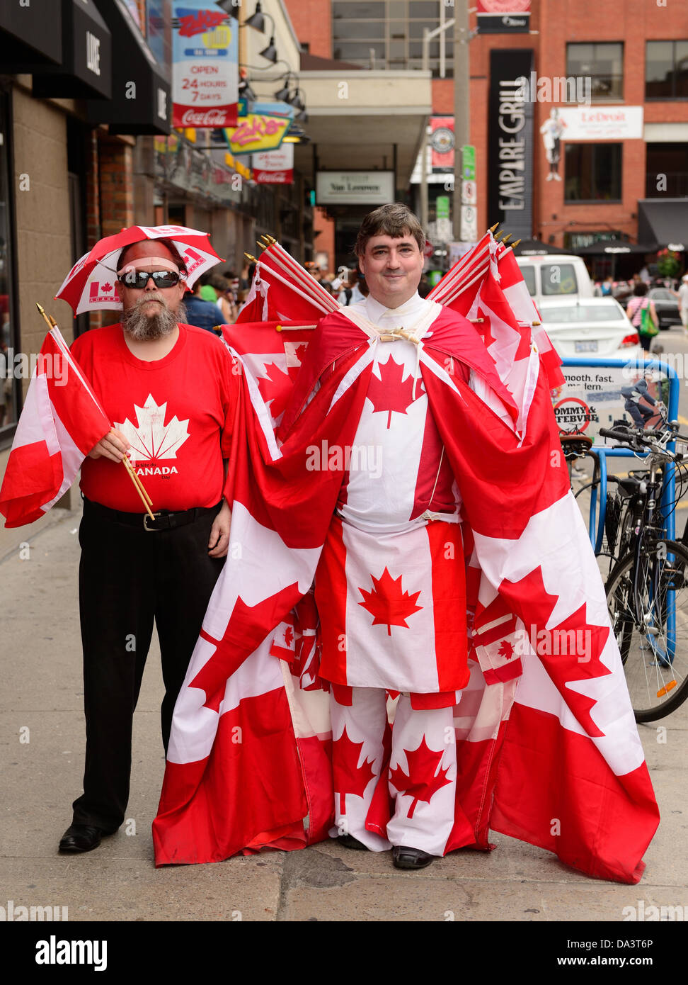 Canada Day revelers display their patriotism at the annual Canada Day celebration in July 1, 2013 in Ottawa, Ontario - Stock Image
