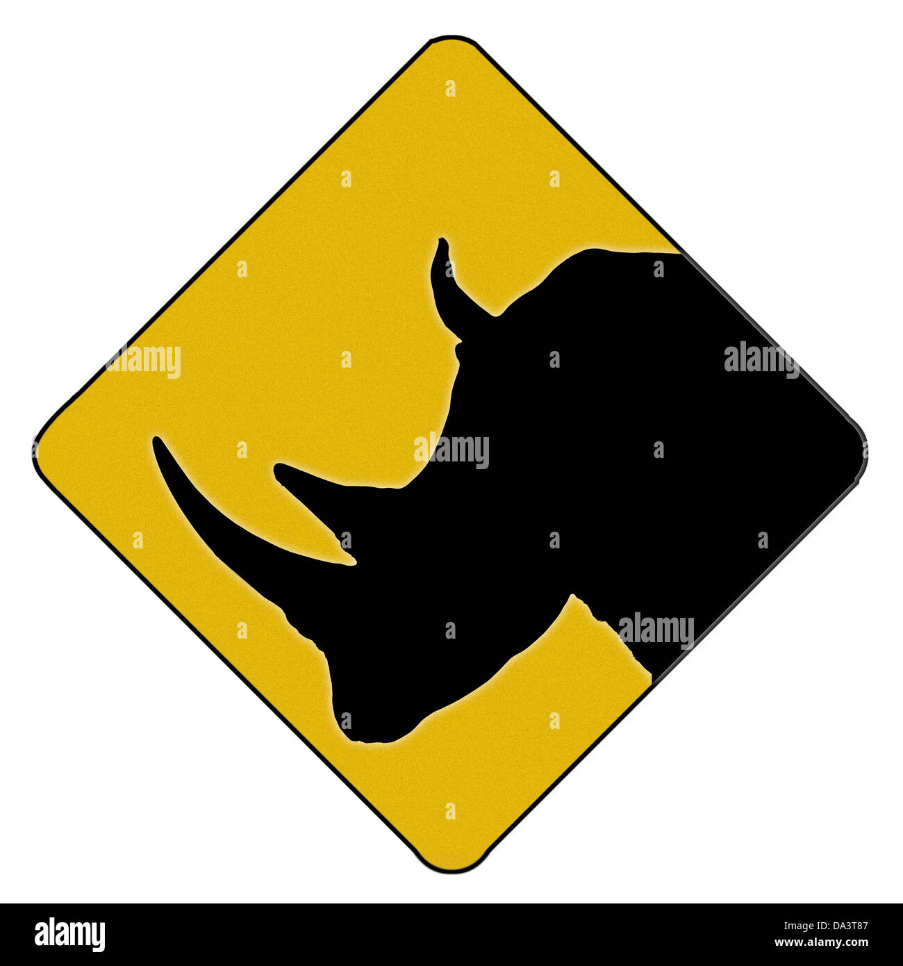 A Rhinoceros crossing  road sign. Digital creation for zoo's and children's rooms - Stock Image