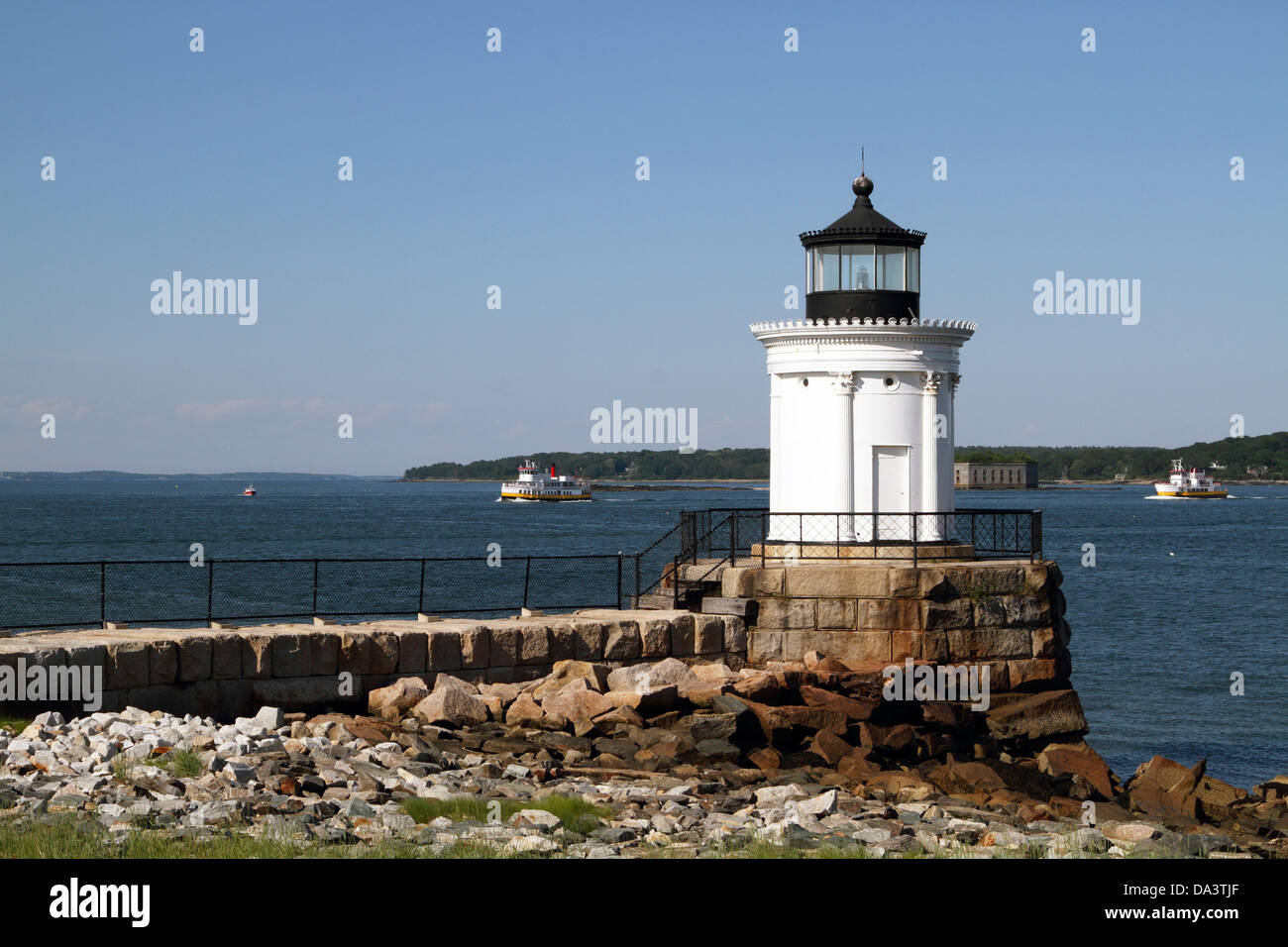 Portland Breakwater Lighthouse also called Bug Light sits in