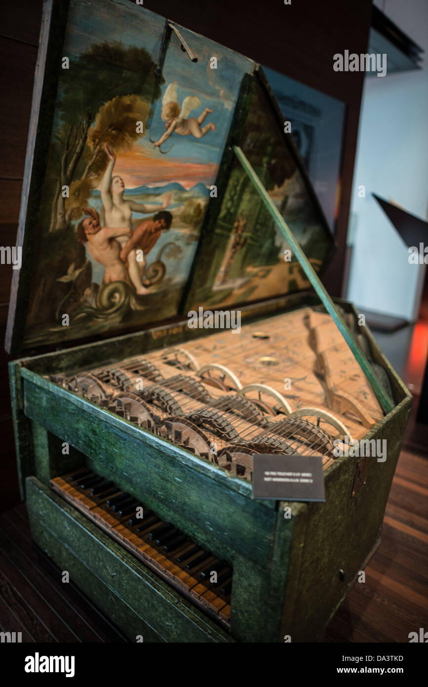 BRUSSELS, Belgium - A keyboard instrument known as a Geigenwerk, dated to 1625, on display at the Musical Instrument - Stock Image