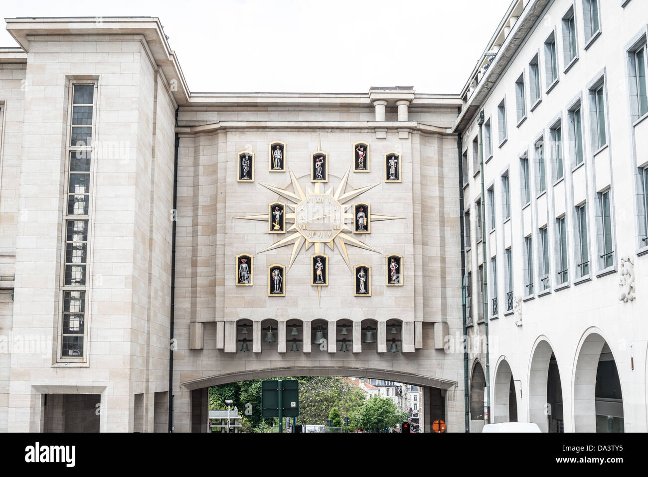 BRUSSELS, Belgium - A carillon clock on an overpass in the Mont des Arts. - Stock Image