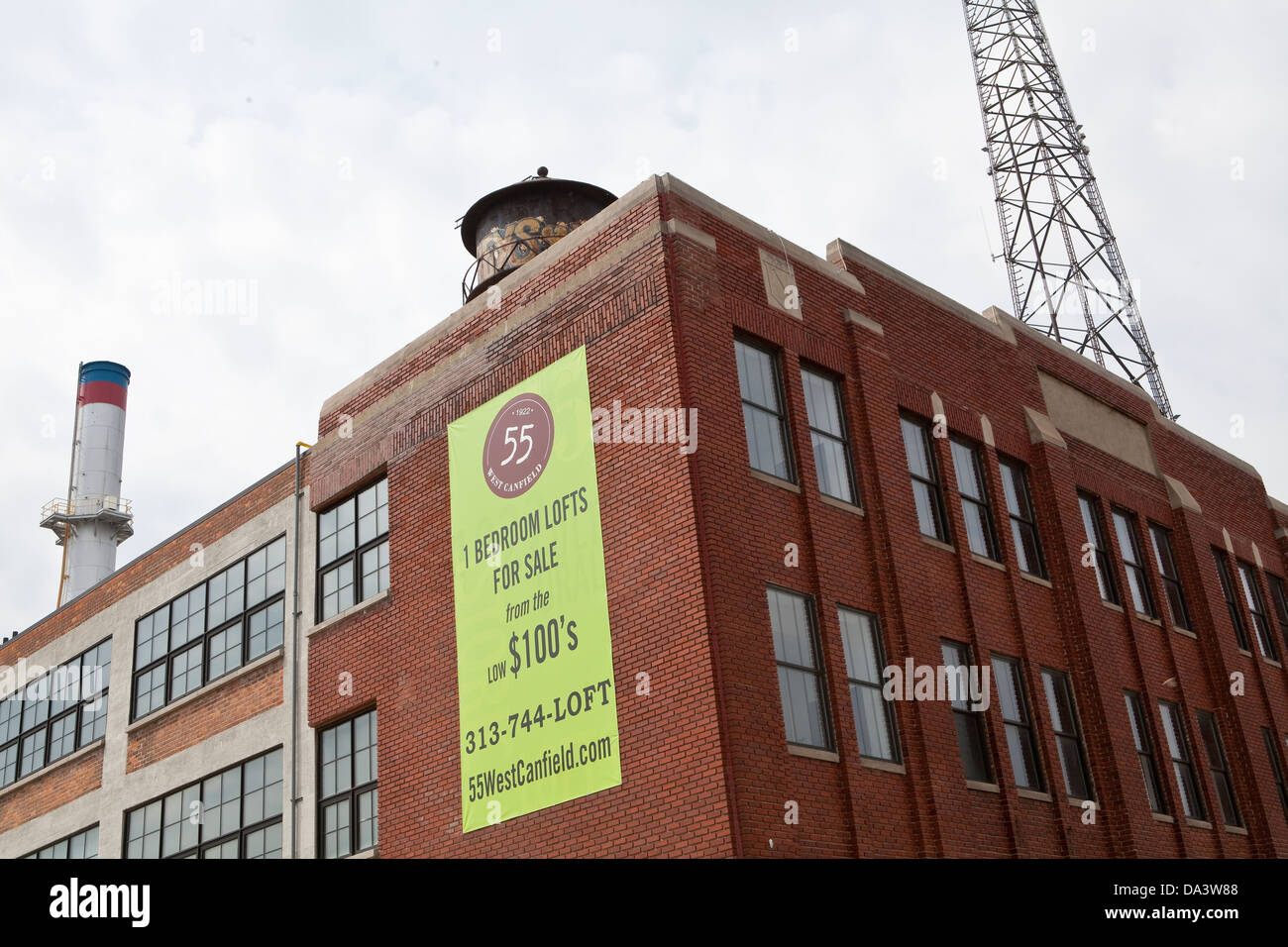 A Sign Showing 1 Bedroom Lofts For Sale Is Seen In Detroit Mi Stock