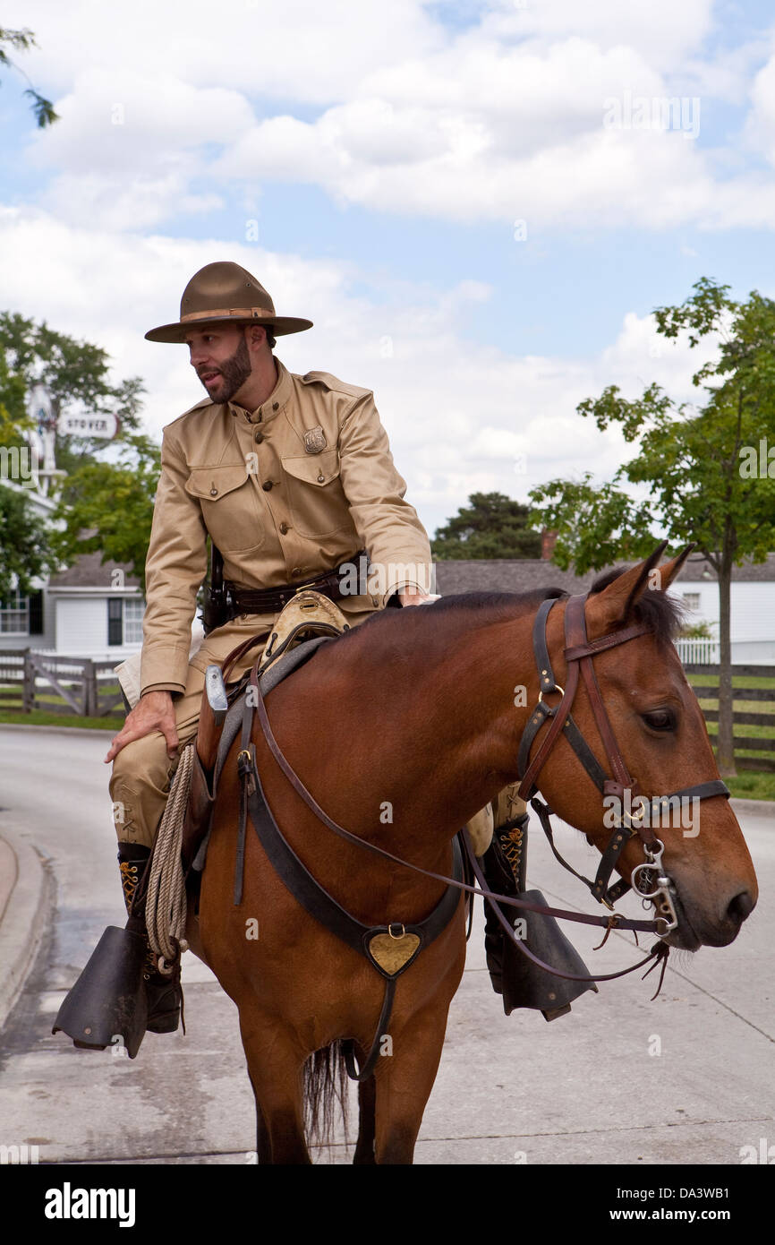 A man dressed as a soldier is seen on a horse in Dearborn' Greenfield Village in Dearborn, near Detroit (Mi) - Stock Image