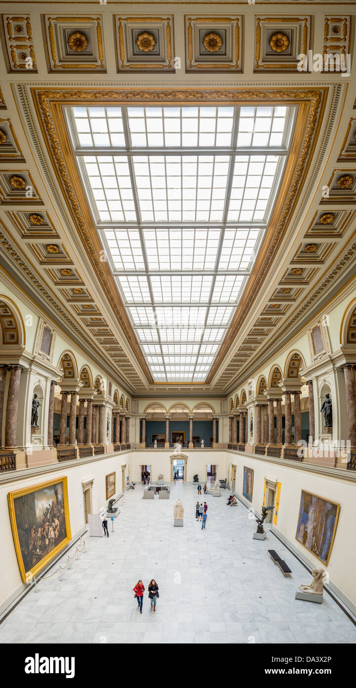BRUSSELS, Belgium - High resolution panorama of the main hall of the Royal Museums of Fine Arts in Belgium (in French, - Stock Image