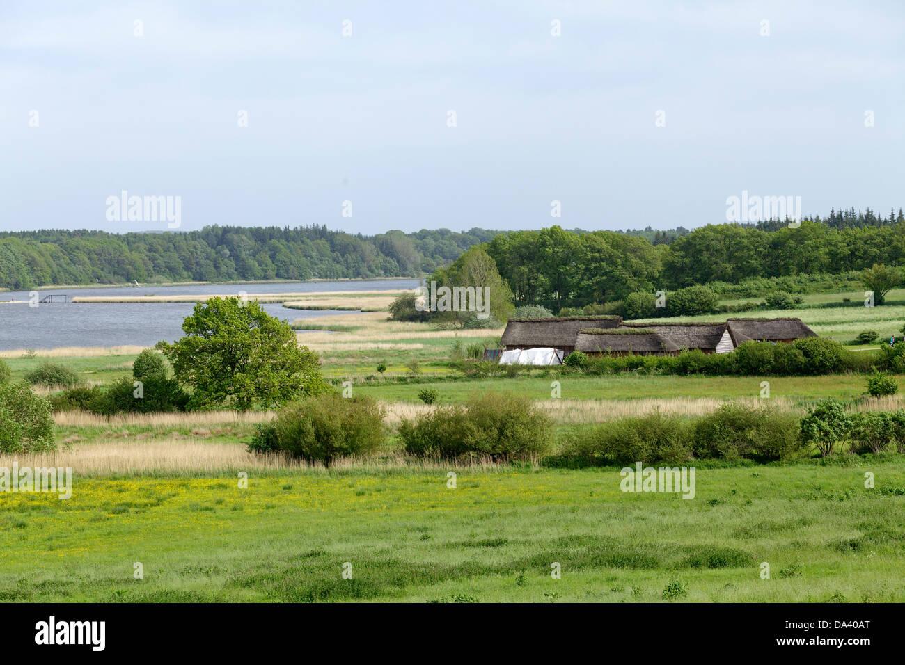 Viking Houses, Haithabu, Schlei, Schleswig-Holstein, Germany - Stock Image