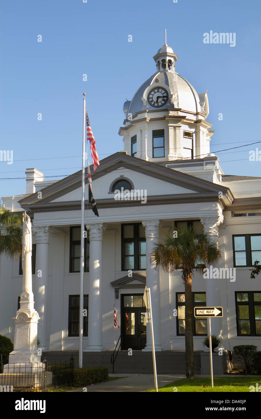Florida Monticello Jefferson County Courthouse Classical Revival style court house historic dome front entranced - Stock Image