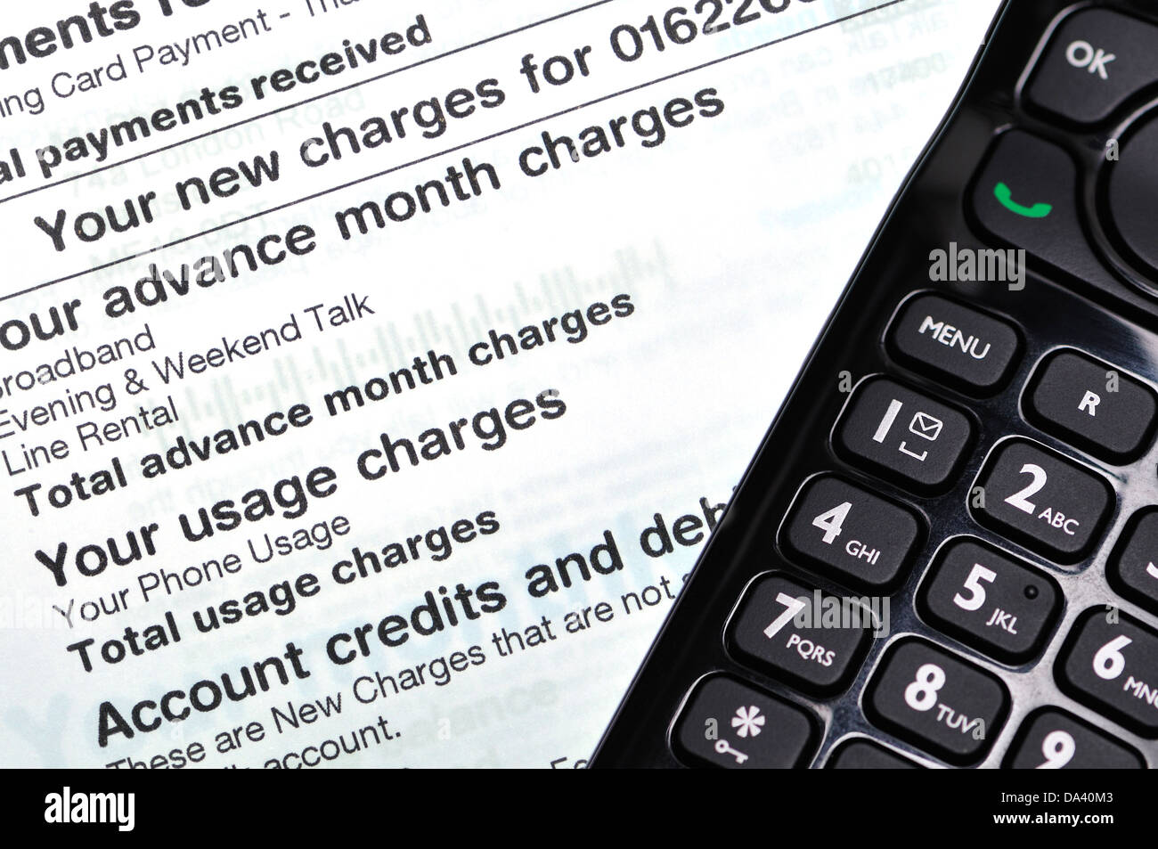 Monthly telephone bill with handset - Stock Image
