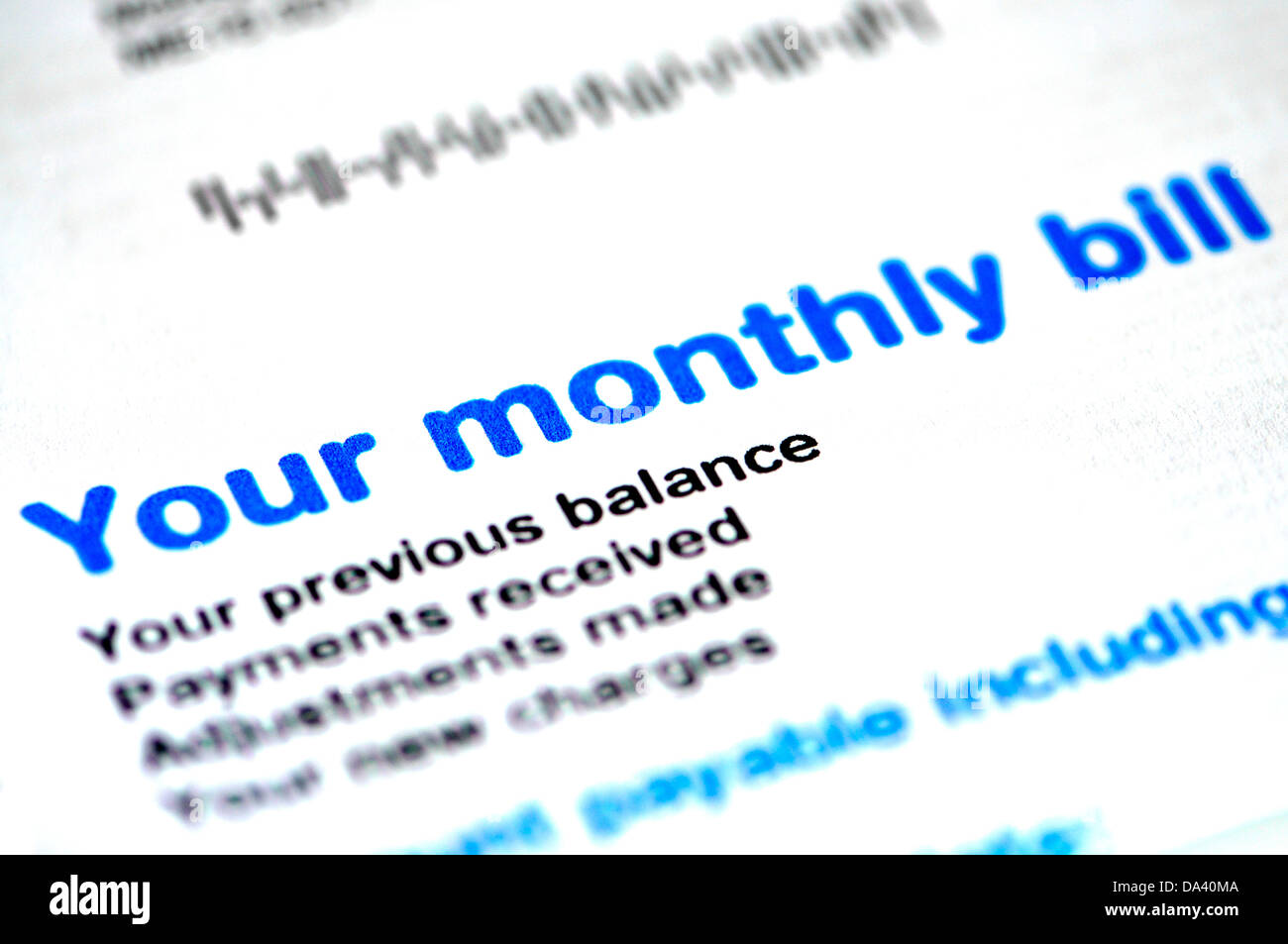 Monthly telephone bill - Stock Image