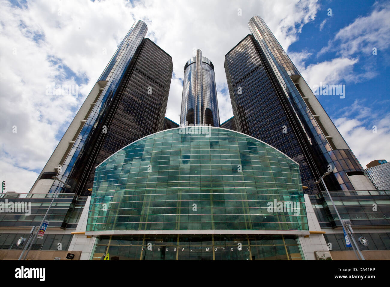 General Motors corporate headquarters is seen in Detroit Renaissance Center - Stock Image