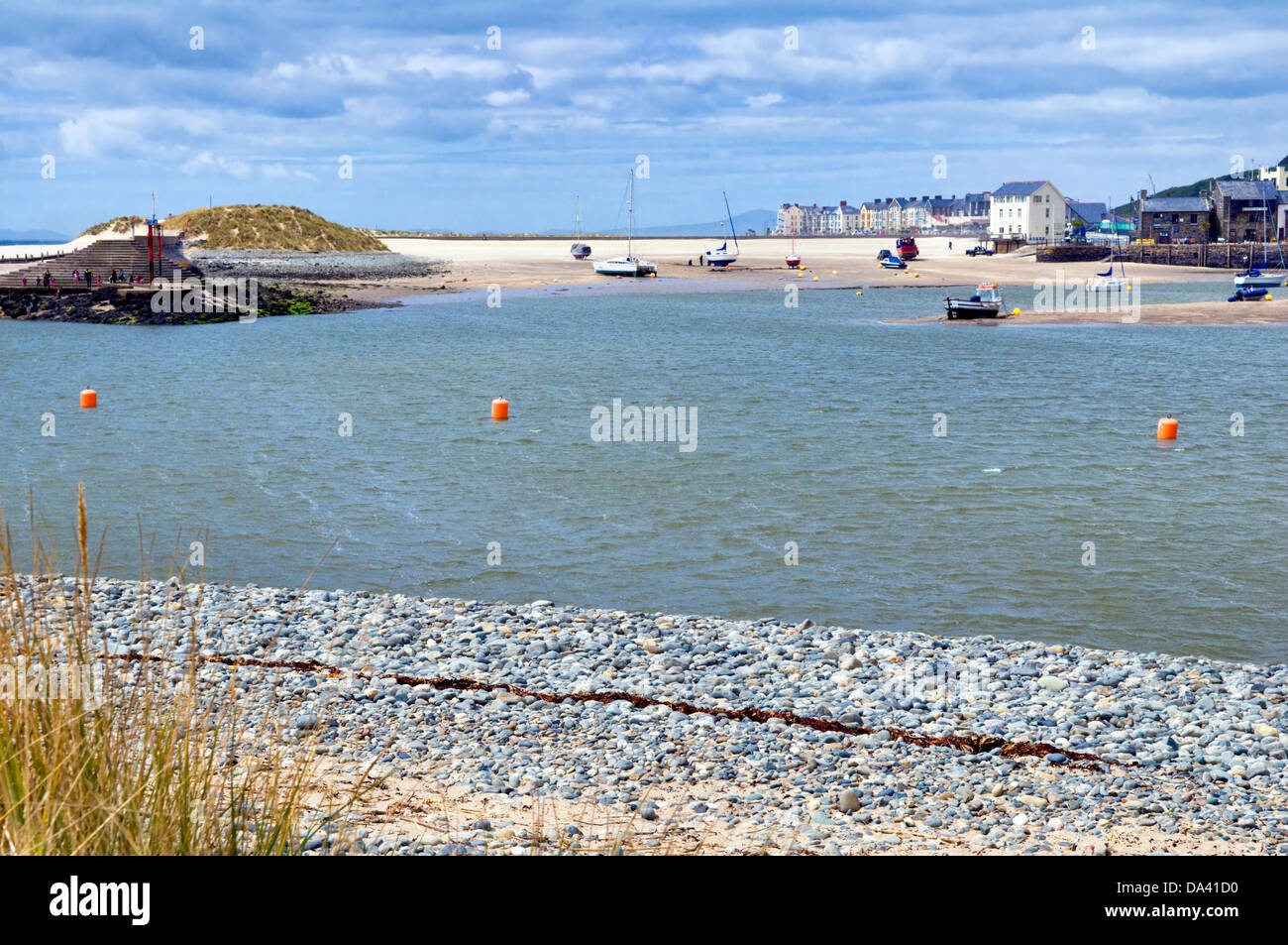 Seaside resort of Barmouth, Barmouth Bay, Gwynedd, Wales, UK taken on fine day from Fairbourne - Stock Image