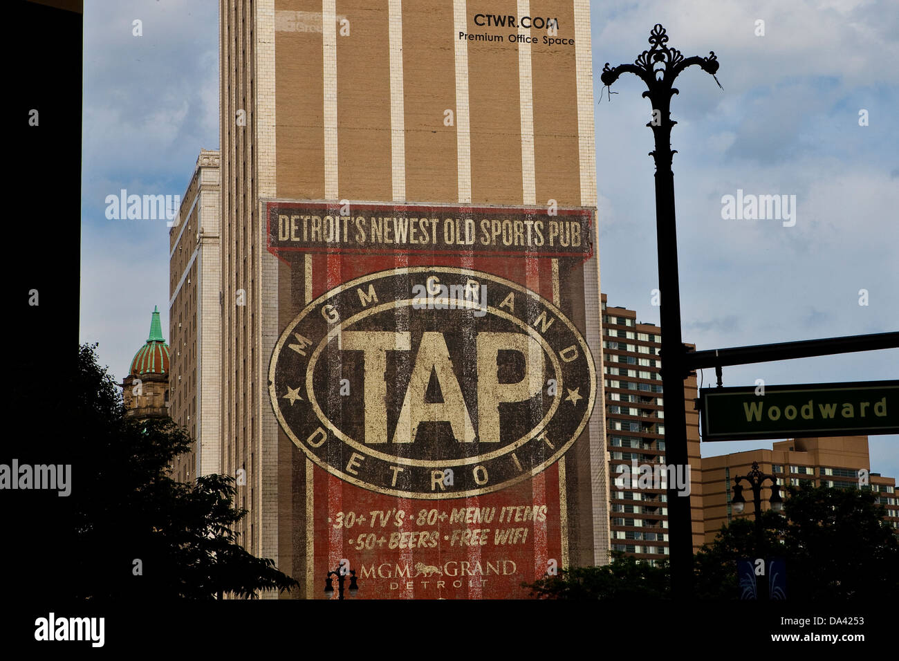 An mural advertisement for MGM Grand TAP sports pub is seen in Detroit (Mi) - Stock Image