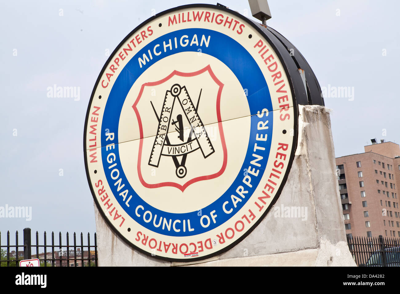 The Michigan Regional Council of Carpenters & Millwrights logo is seen in Detroit - Stock Image
