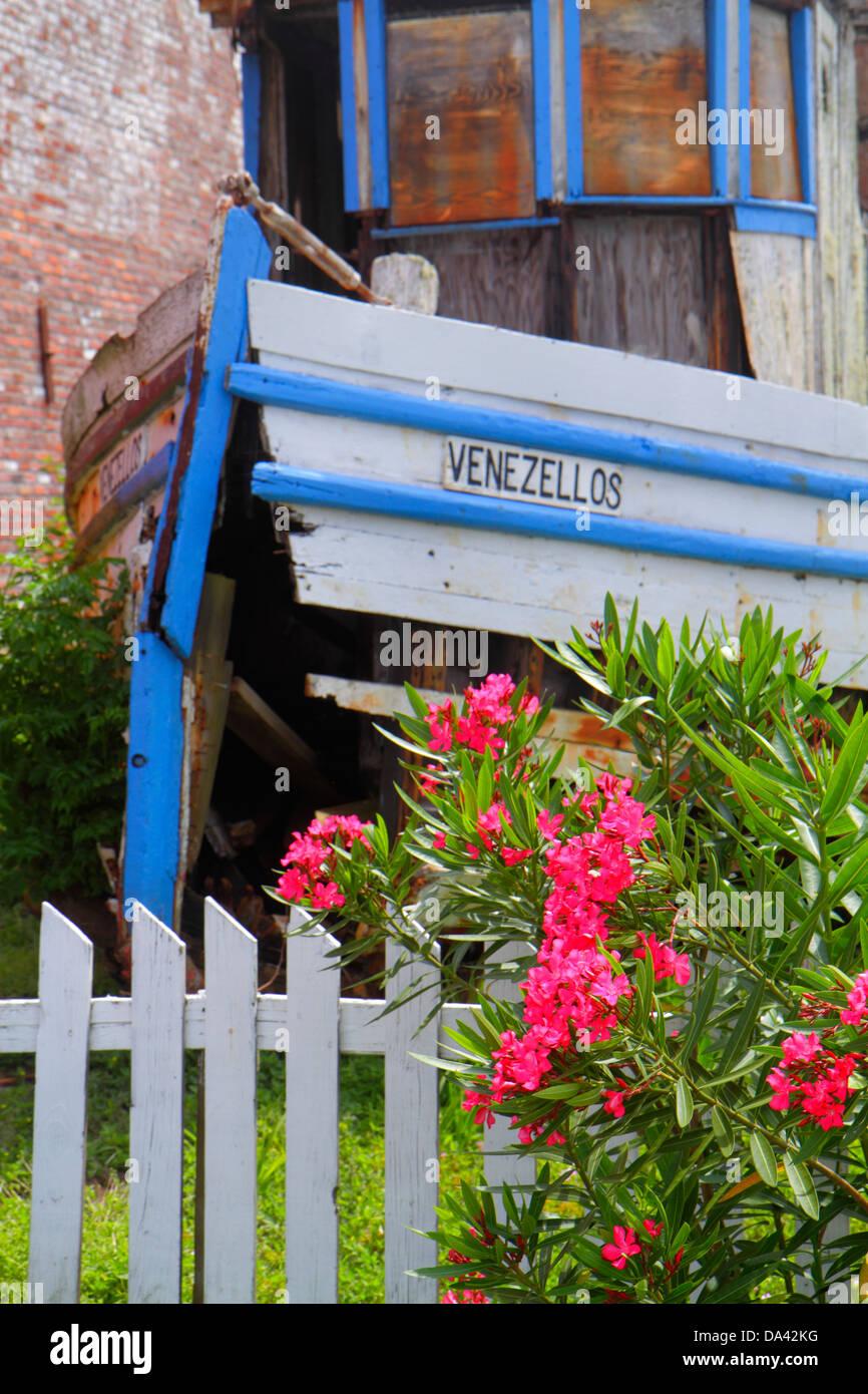Florida Apalachicola Avenue E Greek boat Venezellos by former Sponge Exchange building - Stock Image