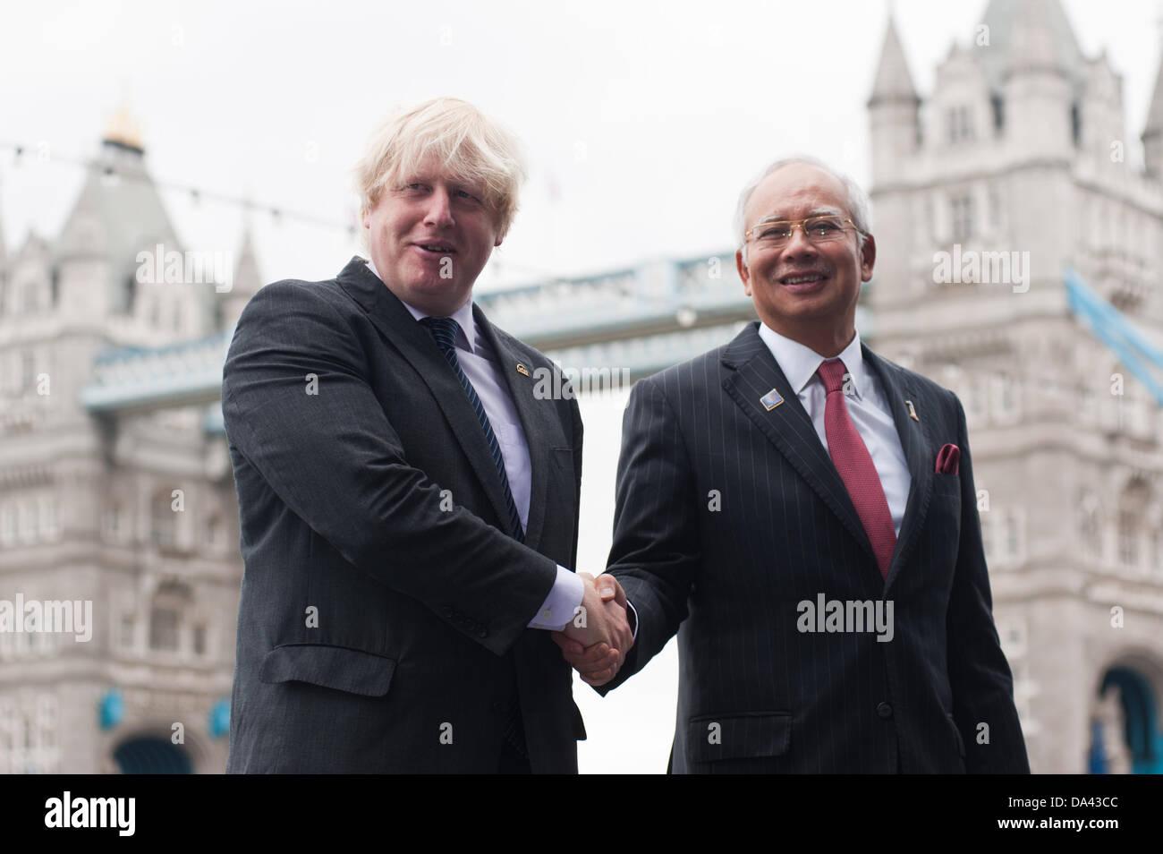 London, UK – 3 July 2013: The Prime Minister of Malaysia, Honourable Dato' Sri Mohd Najib Tun Abdul Razak, and the Stock Photo