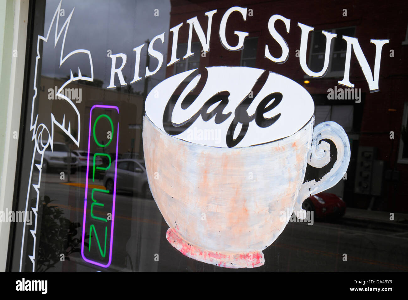 Brooksville Florida Rising Sun Cafe restaurant sign entrance - Stock Image