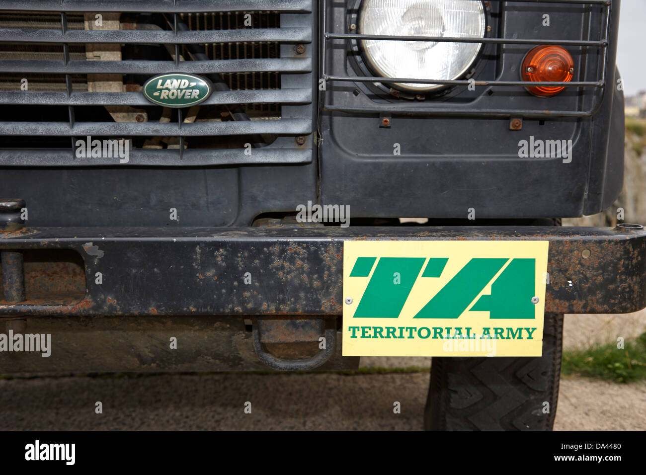 British Army territorial army logo on a landrover in the uk - Stock Image