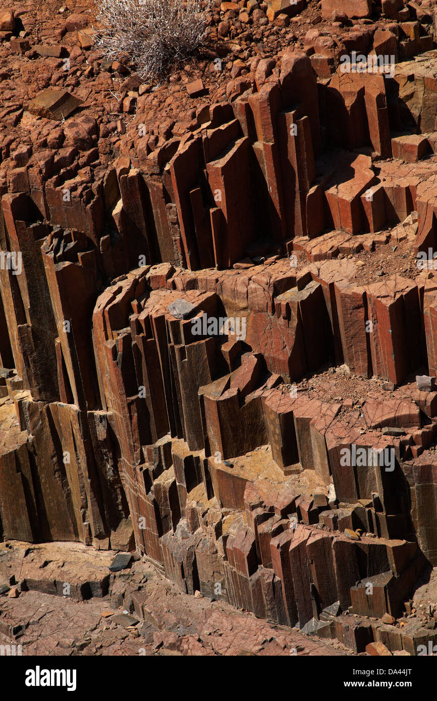 Organ Pipes rock formation, near Twyfelfontein, Damaraland, Namibia, Africa - Stock Image