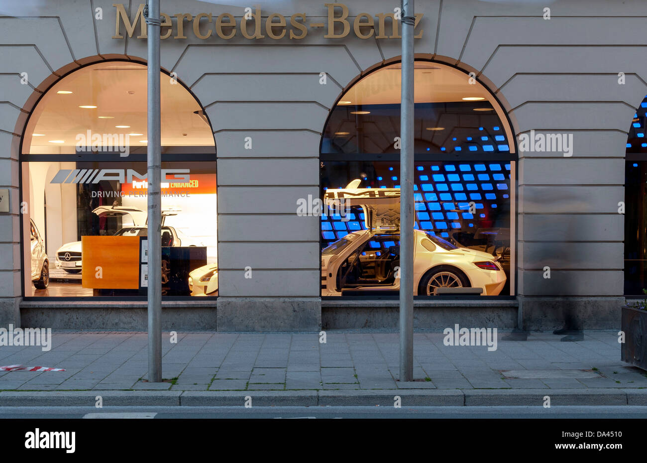 Mercedes Benz Store with AMG Mercedes SLK at Briennerstrasse Munich, Bavaria, Germany - Stock Image