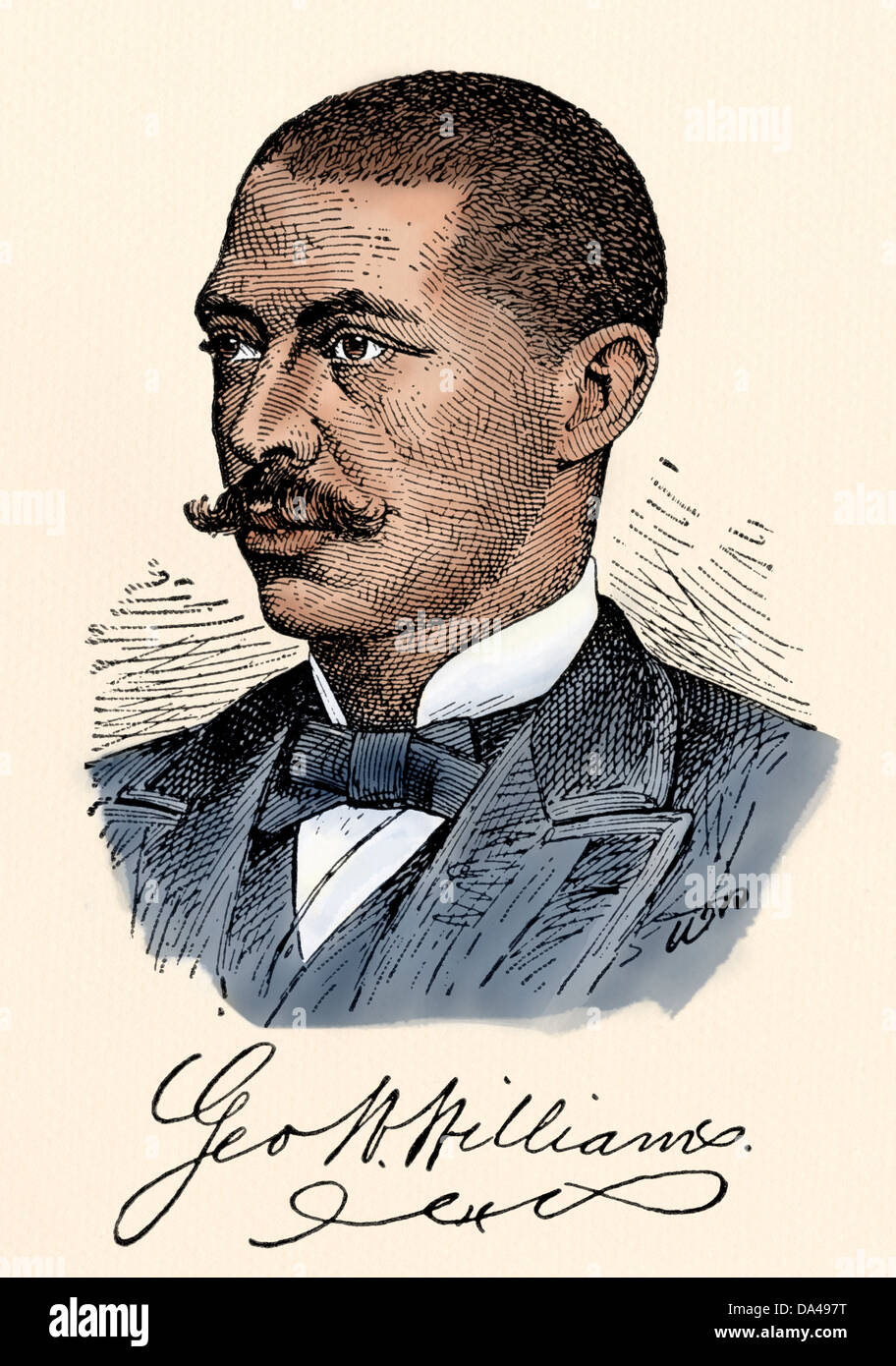 Author George Washington Williams, with his signature. Digitally colored woodcut - Stock Image