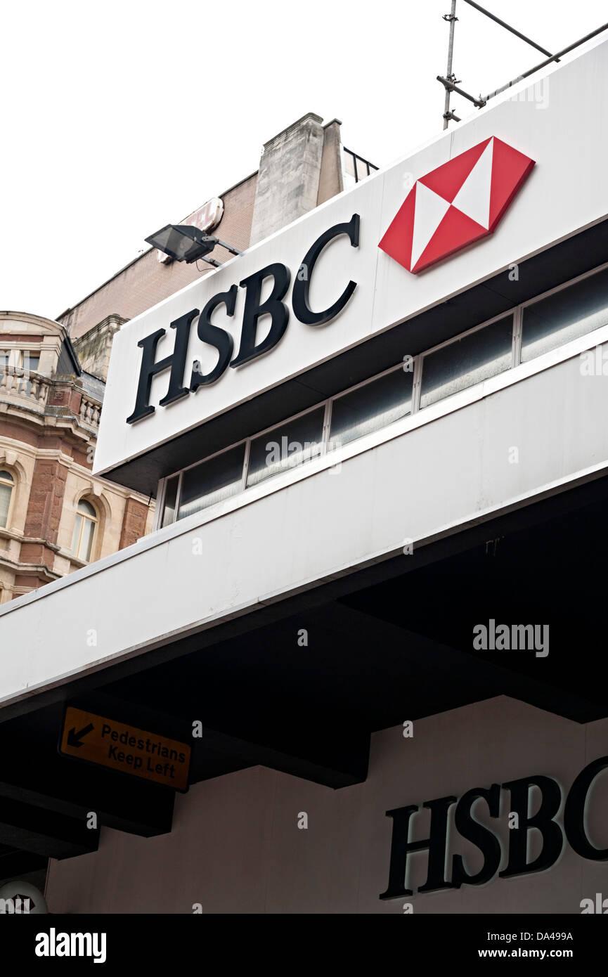 Hsbc The Hongkong and Shanghai Banking Corporation bank sign - Stock Image