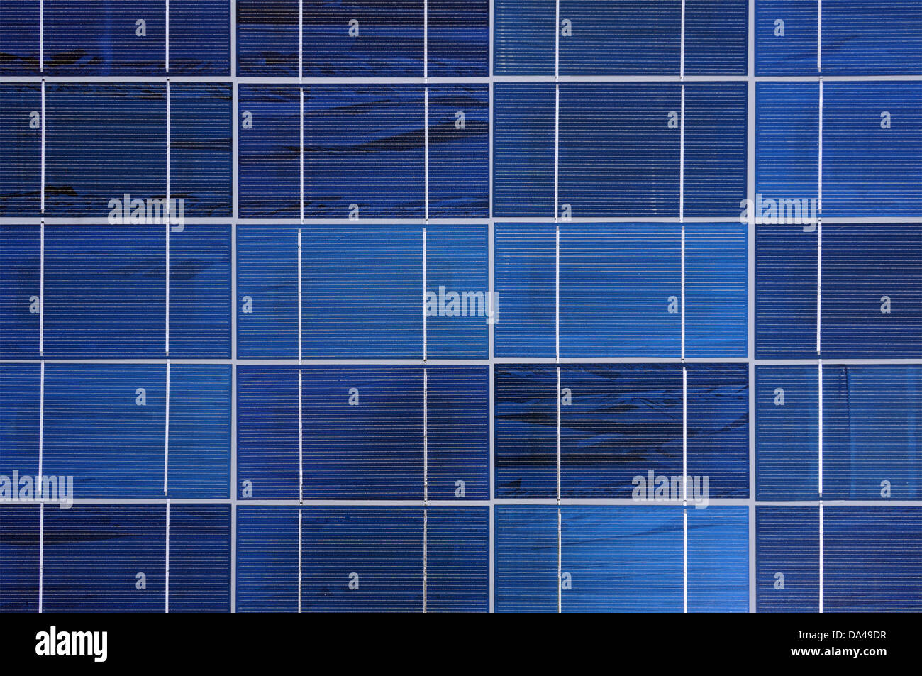 View of polycrystalline photovoltaic cells in a solar panel - Stock Image