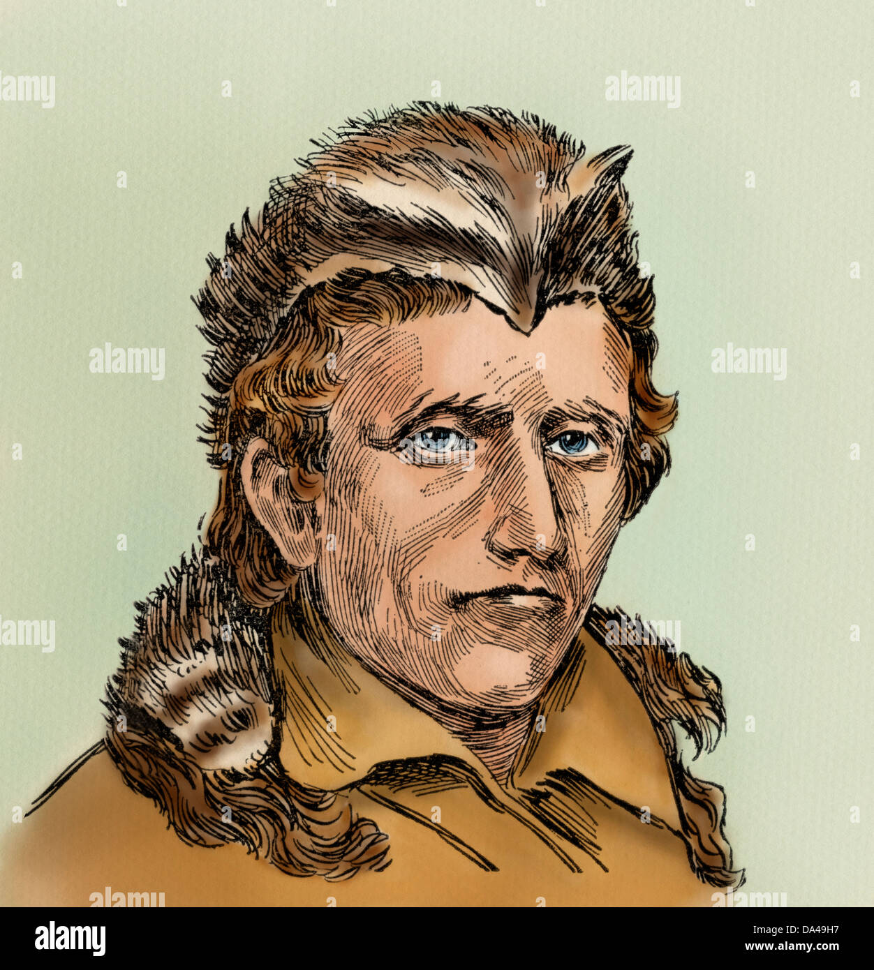 ce7be7bf Daniel Boone in a coonskin cap. Digitally colored woodcut - Stock Image