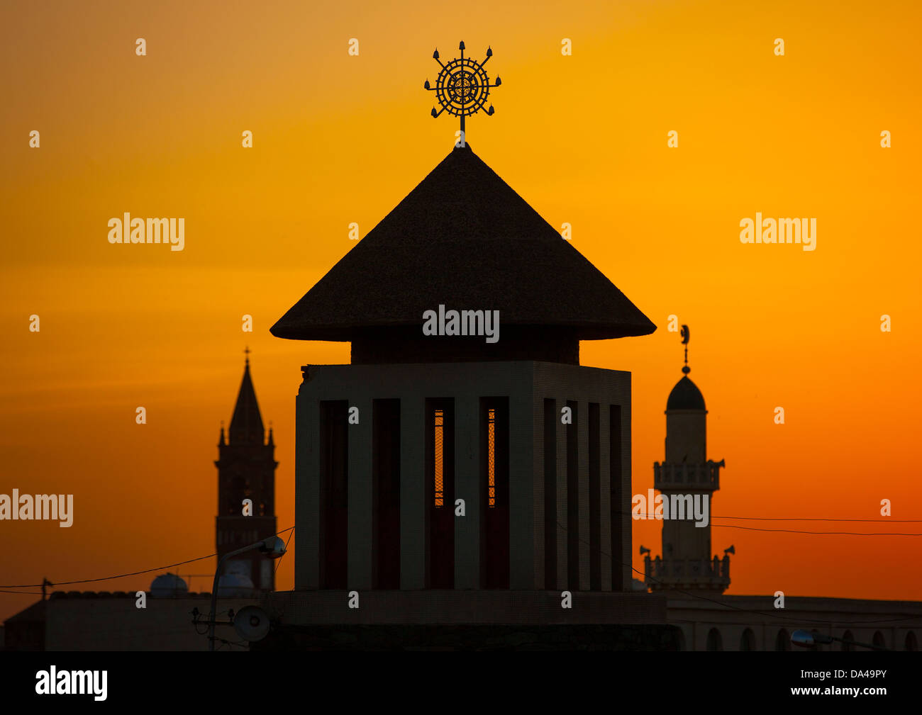 Sunset Over Enda Mariam Orthodox Cathedral, Asmara Eritrea - Stock Image