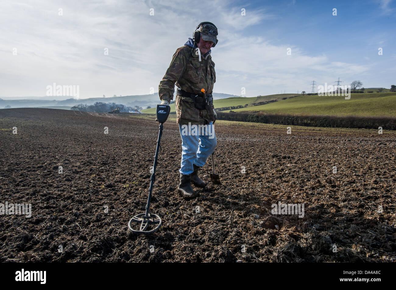 Jew Detector: Man In Field Metal Detector Stock Photos & Man In Field