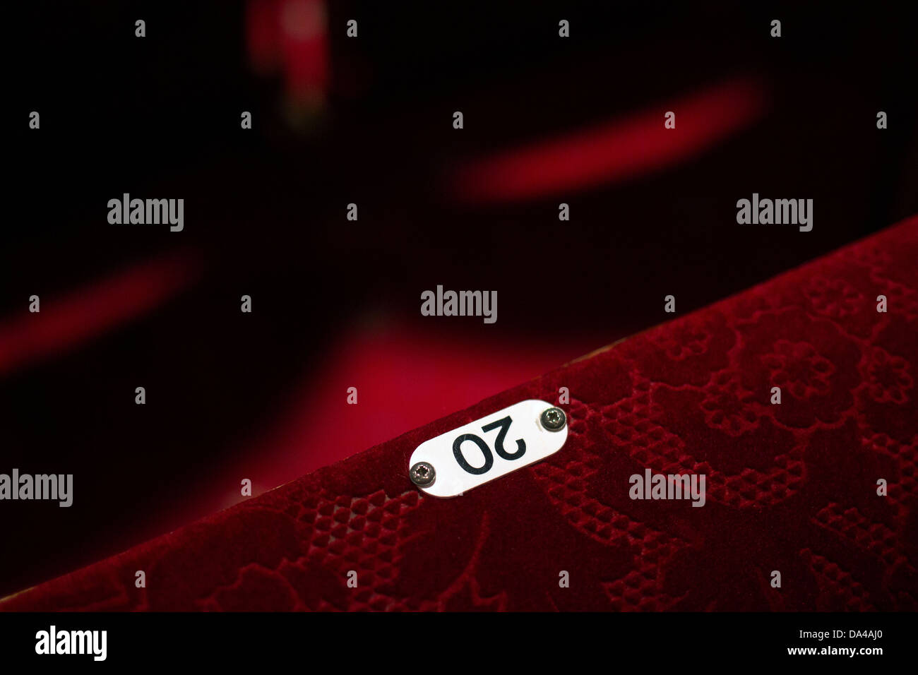 20,theatre seat,cinema, seat, theater, chair, red, auditorium, number 20, architectural styles, contemporary,twenty, design,red Stock Photo