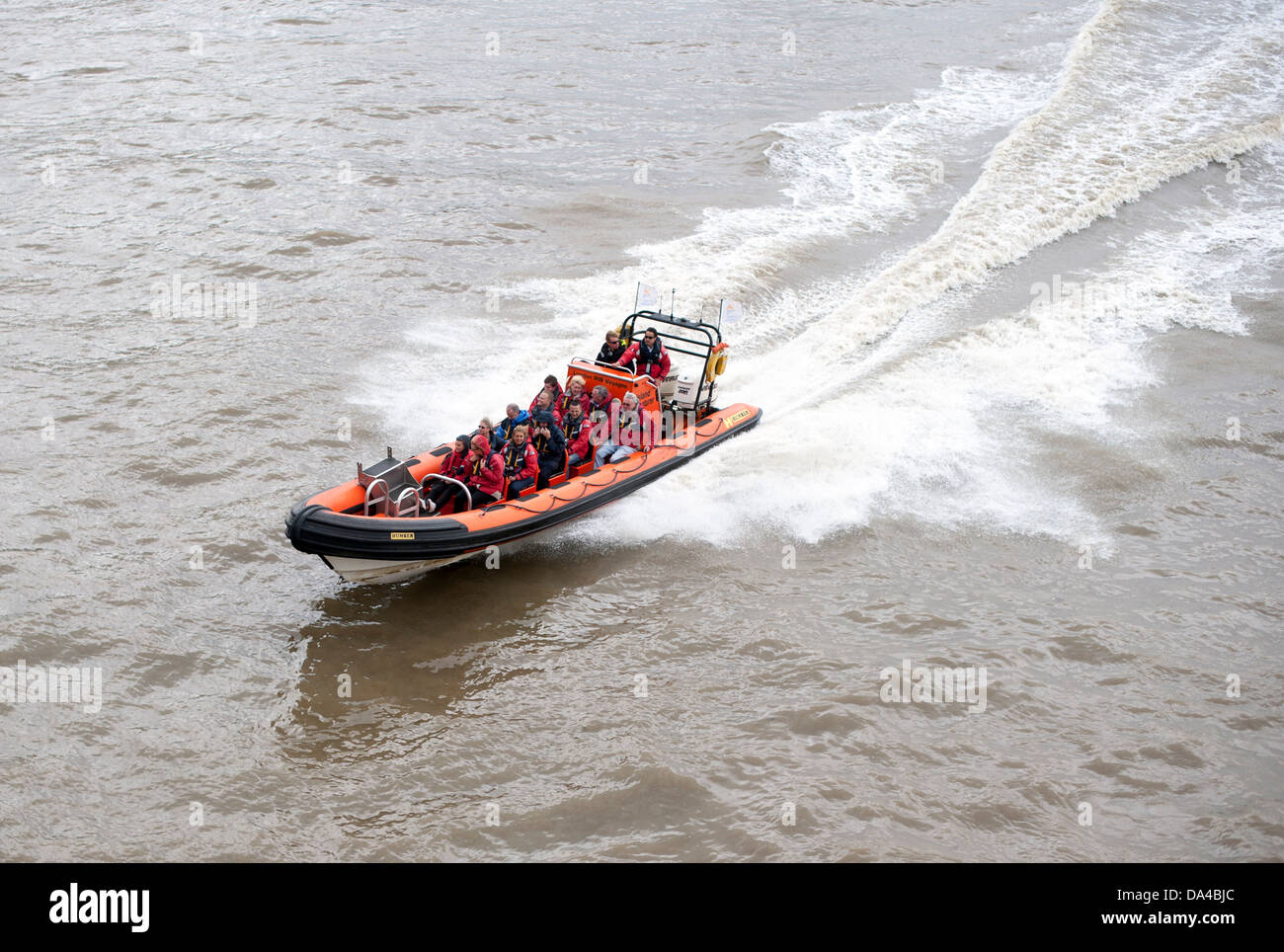 Rib voyages thames rubber speed boat tour - Stock Image