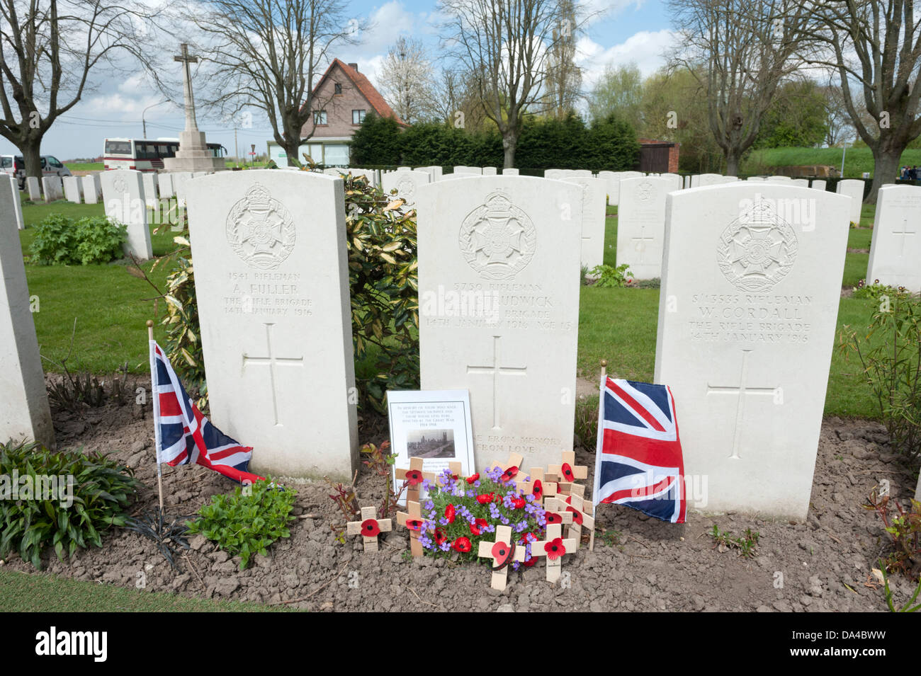 Essex Farm Commonwealth War Graves Cemetery, Ypres, Belgium. Showing grave of Rifleman Strudwick aged 15. Stock Photo