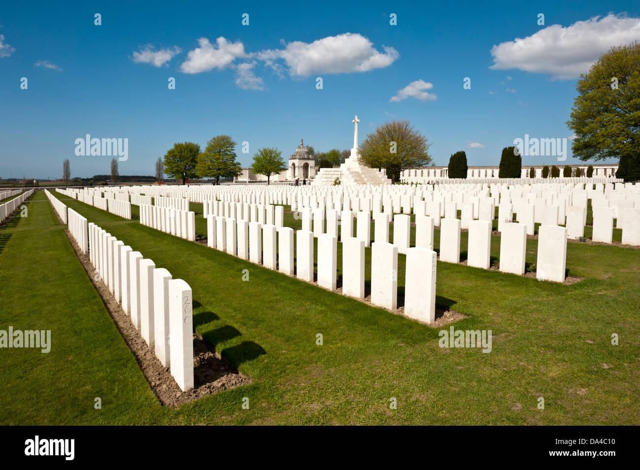 Tyne Cot, Commonwealth War Graves Cemetery,Ypres, Belgium. - Stock Image